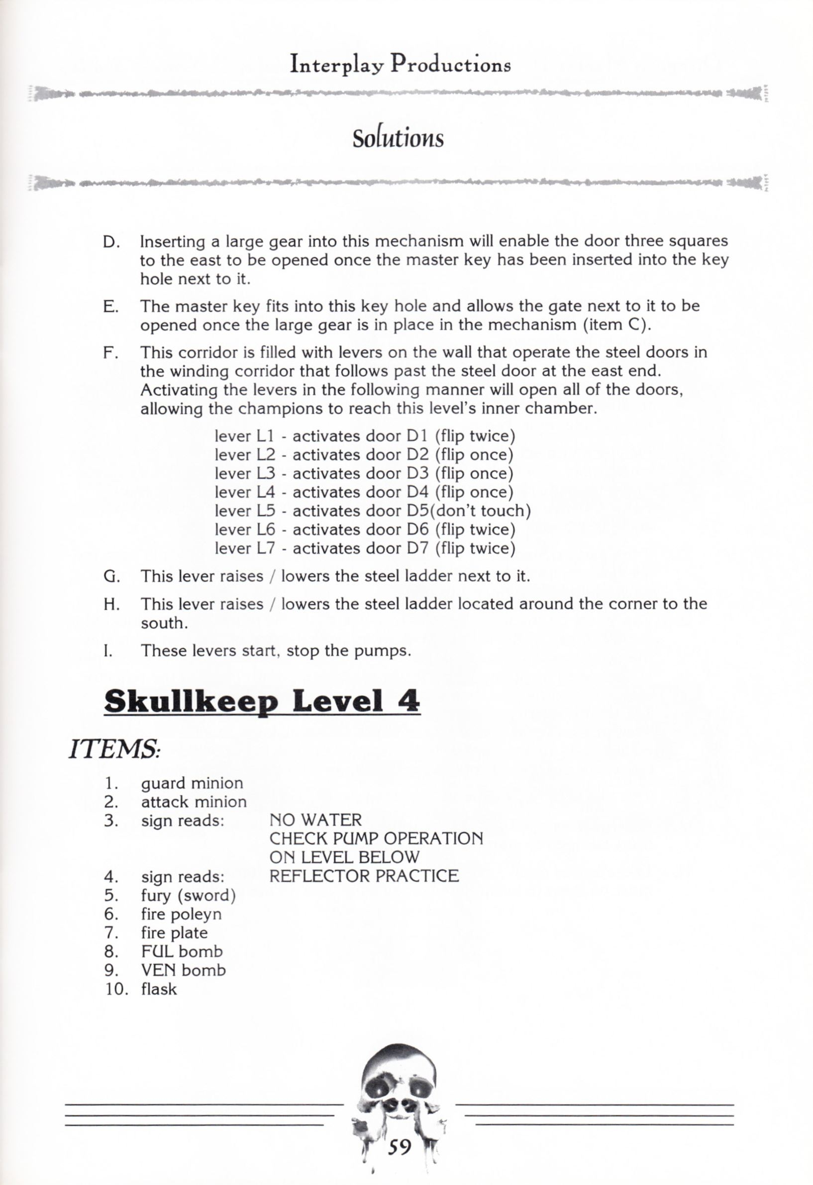 Hint Book - Dungeon Master II Clue Book - US - Page 061 - Scan