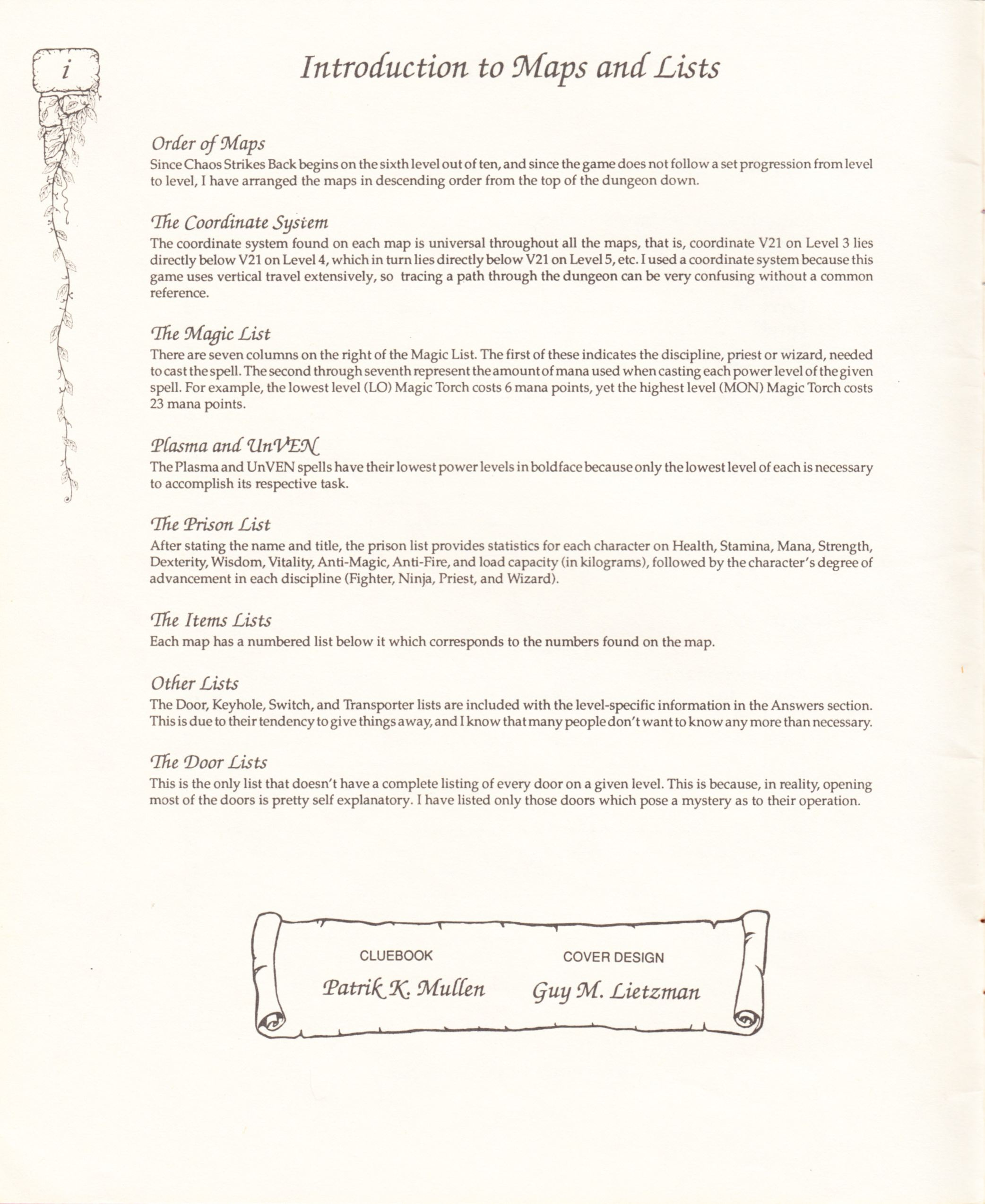 Hint Book - Pat Mullen's Maps, Lists, And Answers For Chaos Strikes Back - US - Page 004 - Scan