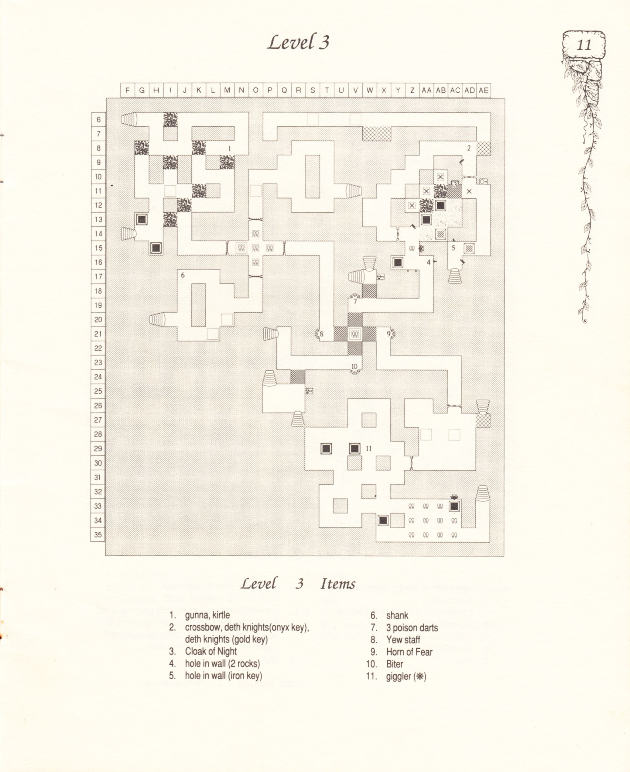 Hint Book - Pat Mullen's Maps, Lists, And Answers For Chaos Strikes Back - US - Page 015 - Scan