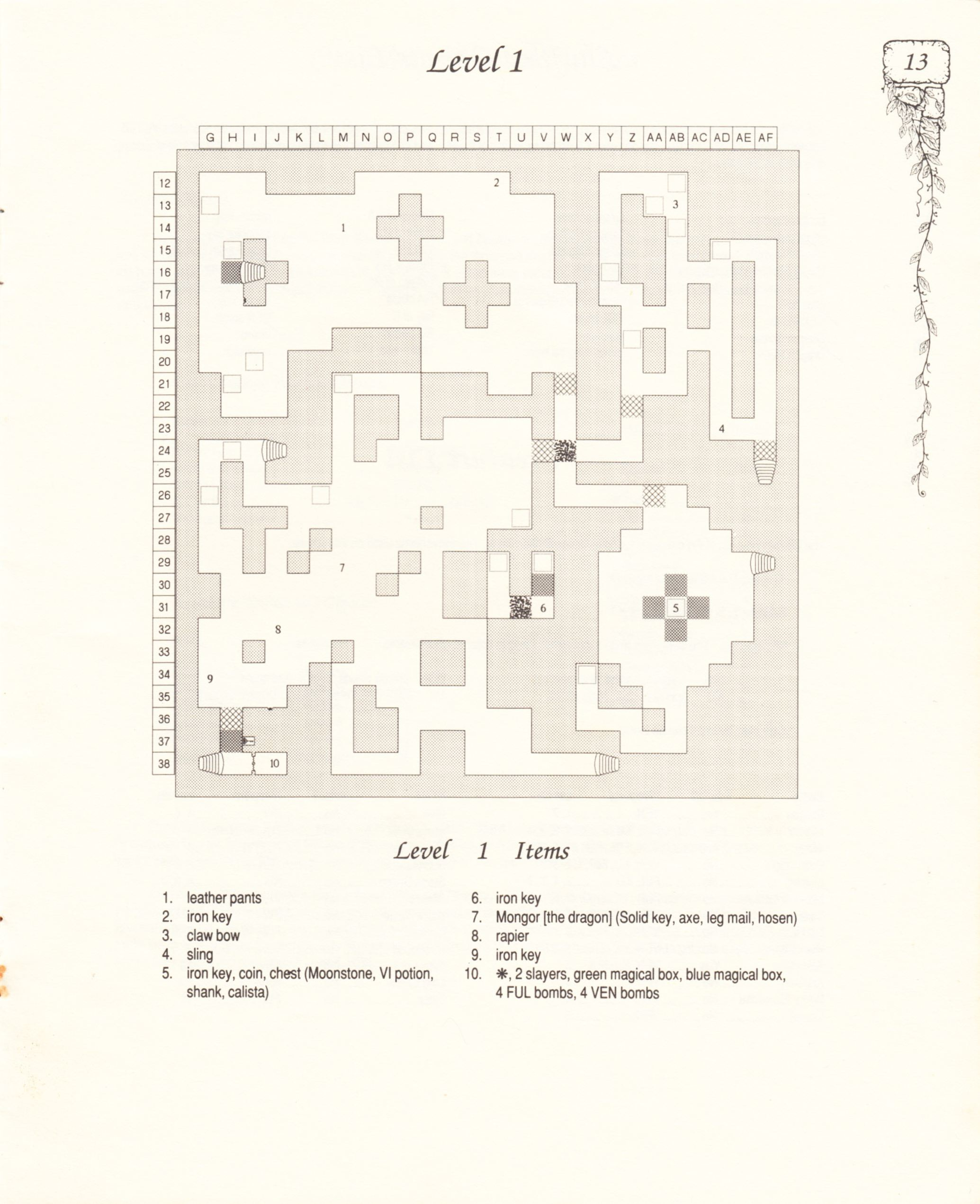 Hint Book - Pat Mullen's Maps, Lists, And Answers For Chaos Strikes Back - US - Page 017 - Scan