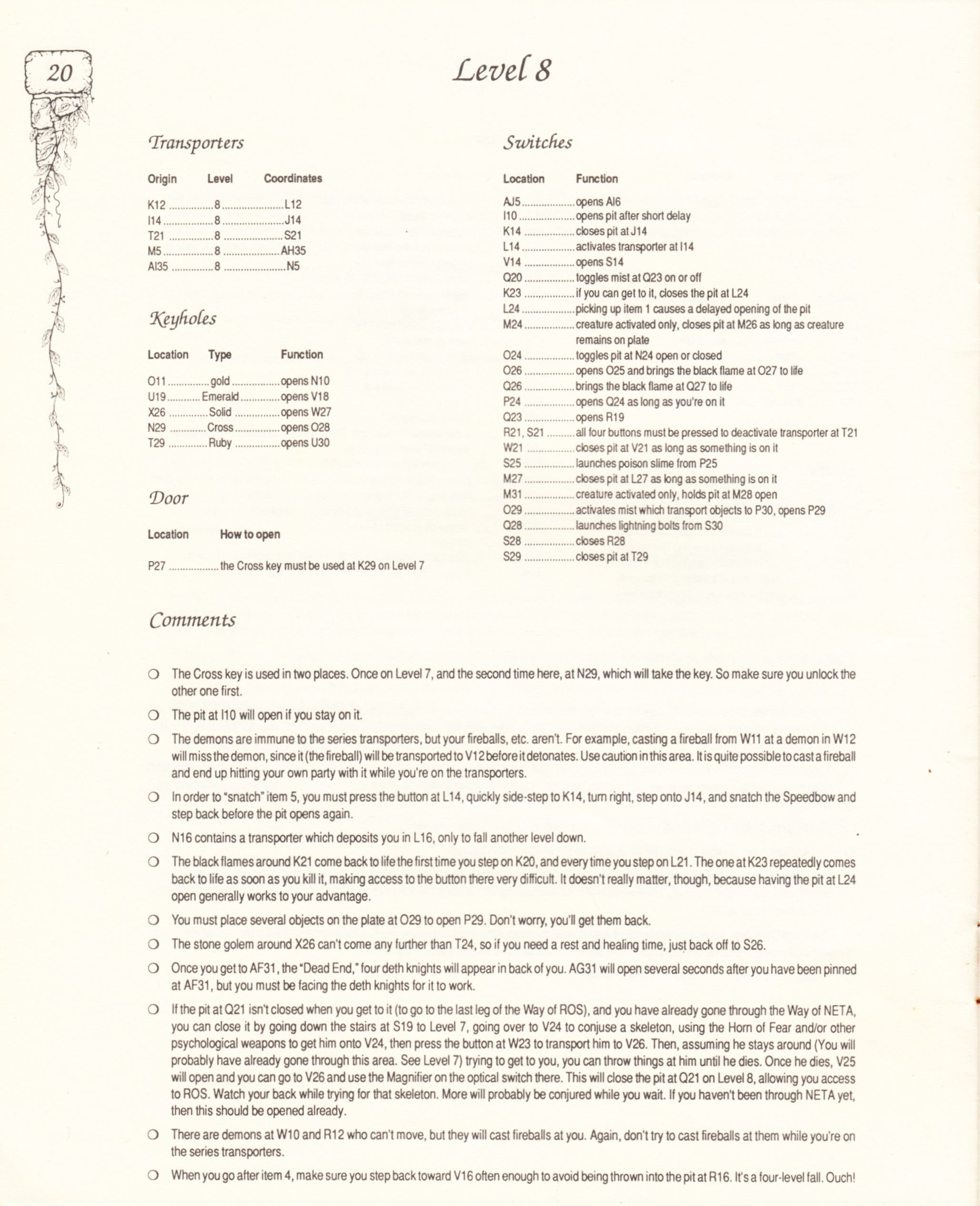 Hint Book - Pat Mullen's Maps, Lists, And Answers For Chaos Strikes Back - US - Page 024 - Scan