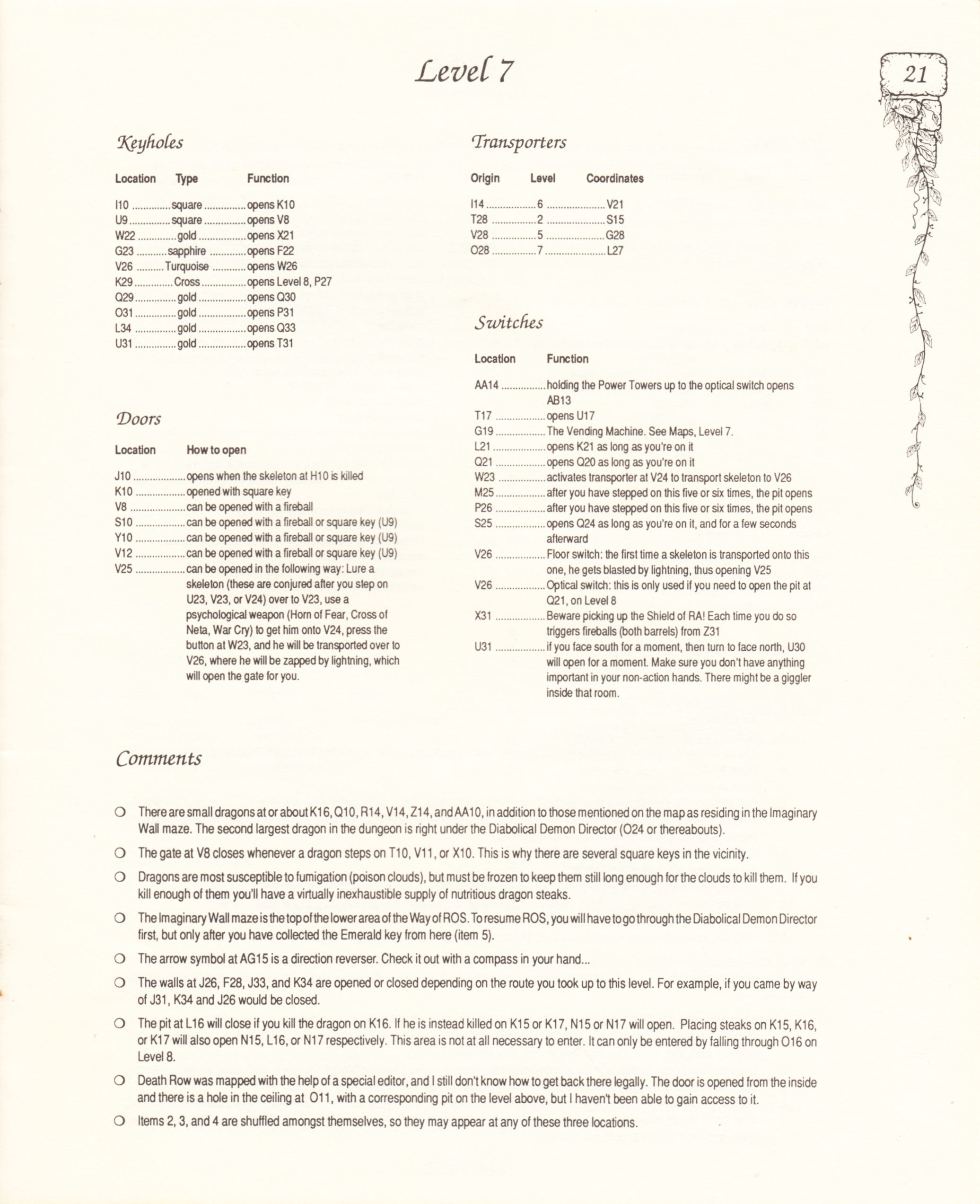 Hint Book - Pat Mullen's Maps, Lists, And Answers For Chaos Strikes Back - US - Page 025 - Scan