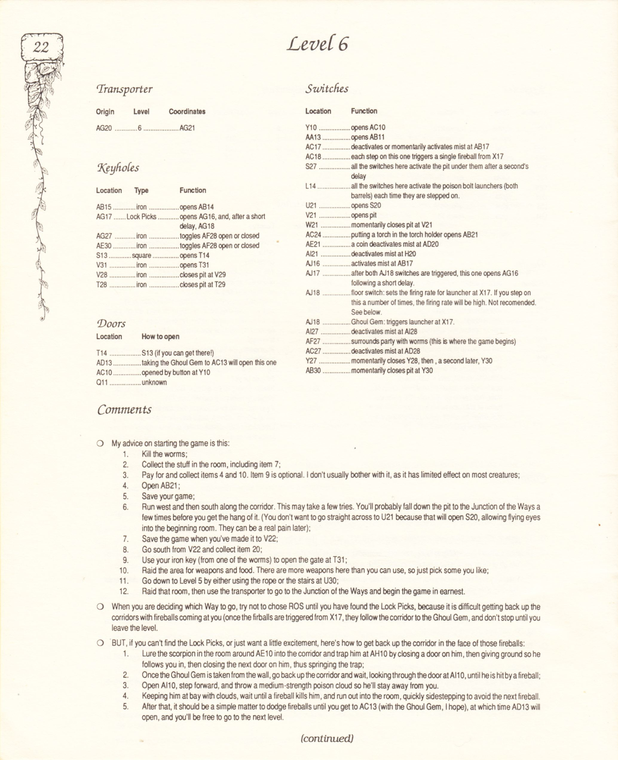 Hint Book - Pat Mullen's Maps, Lists, And Answers For Chaos Strikes Back - US - Page 026 - Scan