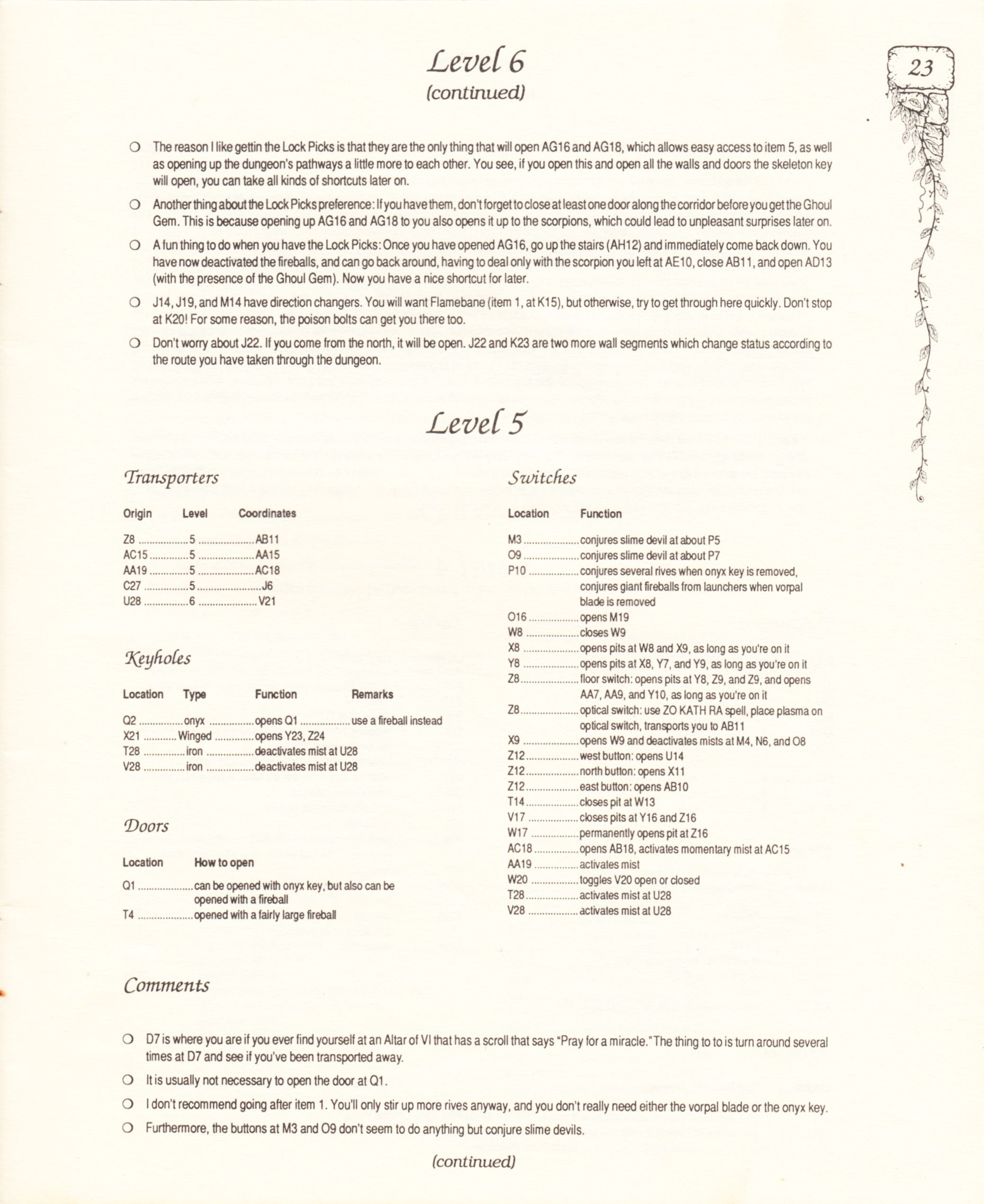 Hint Book - Pat Mullen's Maps, Lists, And Answers For Chaos Strikes Back - US - Page 027 - Scan