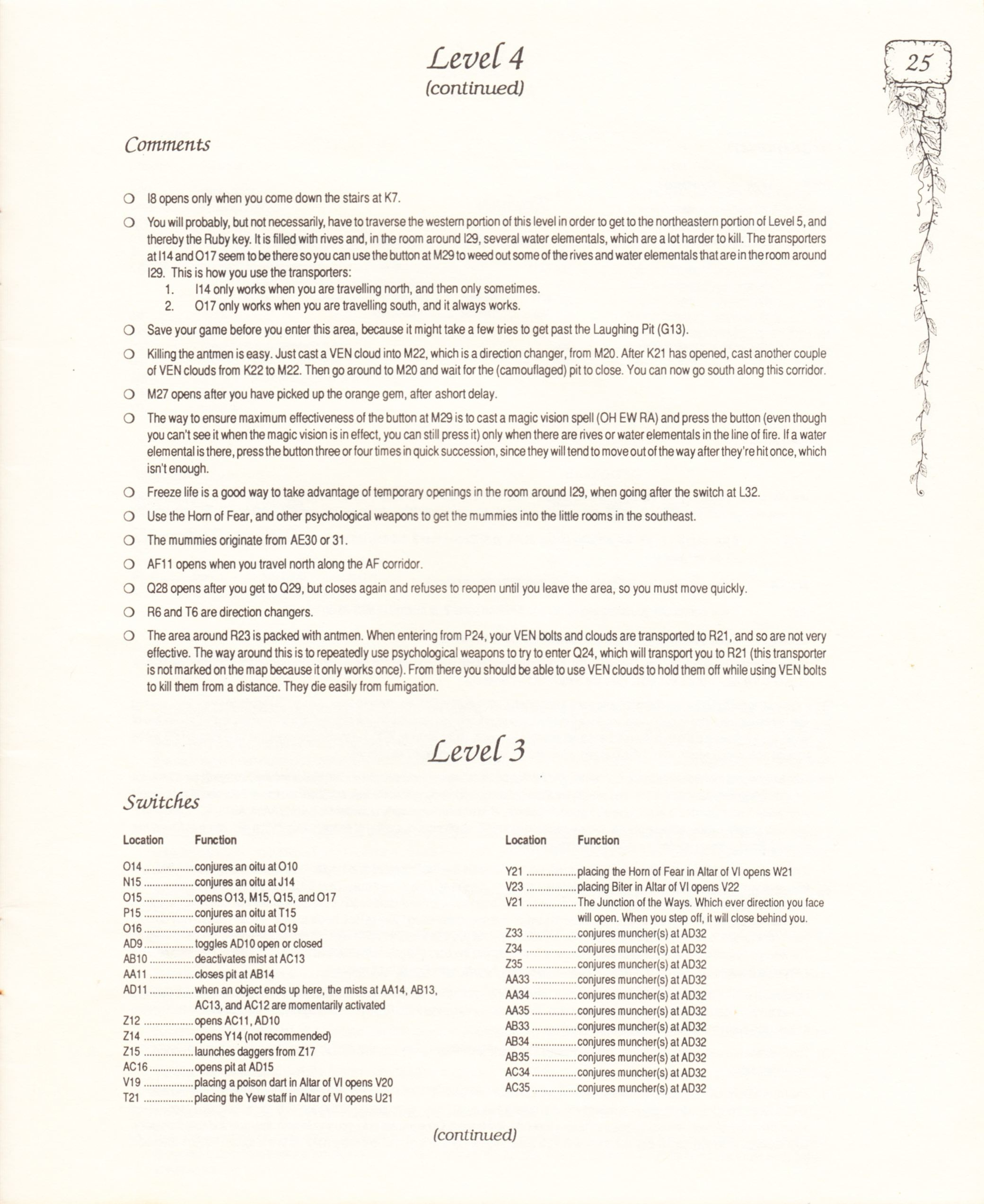 Hint Book - Pat Mullen's Maps, Lists, And Answers For Chaos Strikes Back - US - Page 029 - Scan