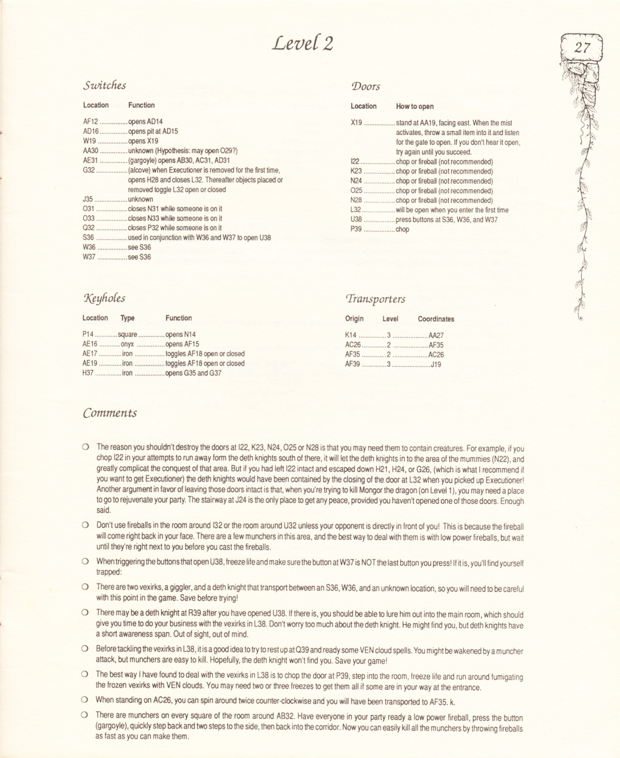 Hint Book - Pat Mullen's Maps, Lists, And Answers For Chaos Strikes Back - US - Page 031 - Scan