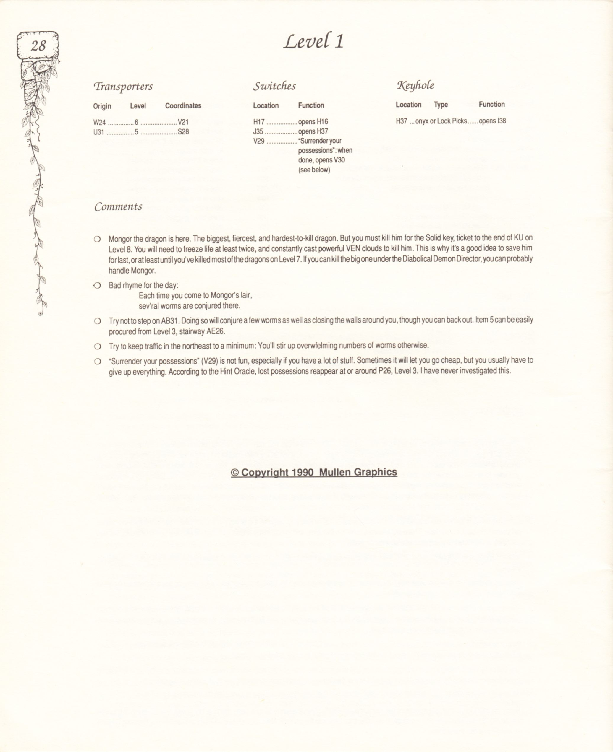 Hint Book - Pat Mullen's Maps, Lists, And Answers For Chaos Strikes Back - US - Page 032 - Scan