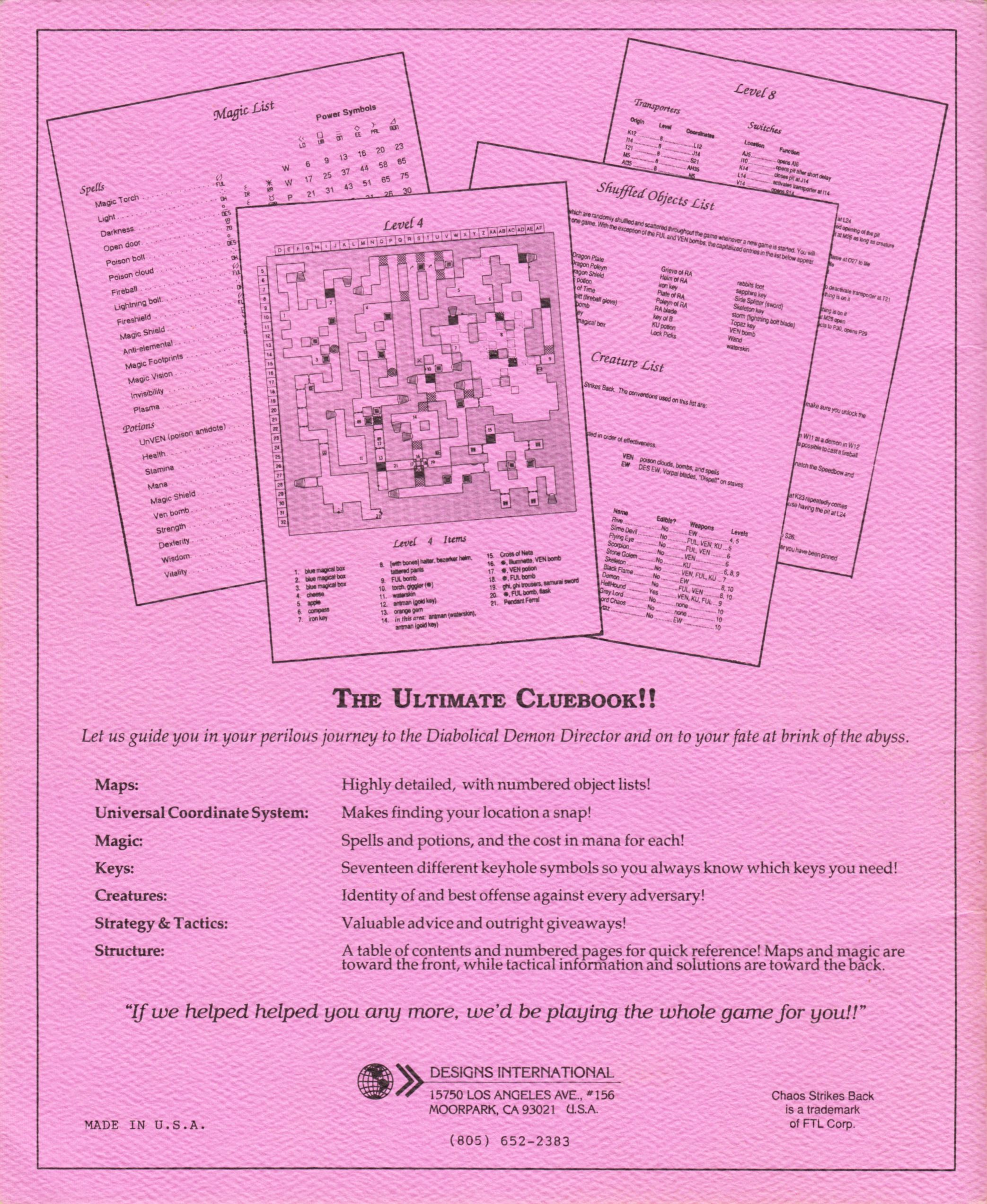 Hint Book - Pat Mullen's Maps, Lists, And Answers For Chaos Strikes Back - US - Page 036 - Scan