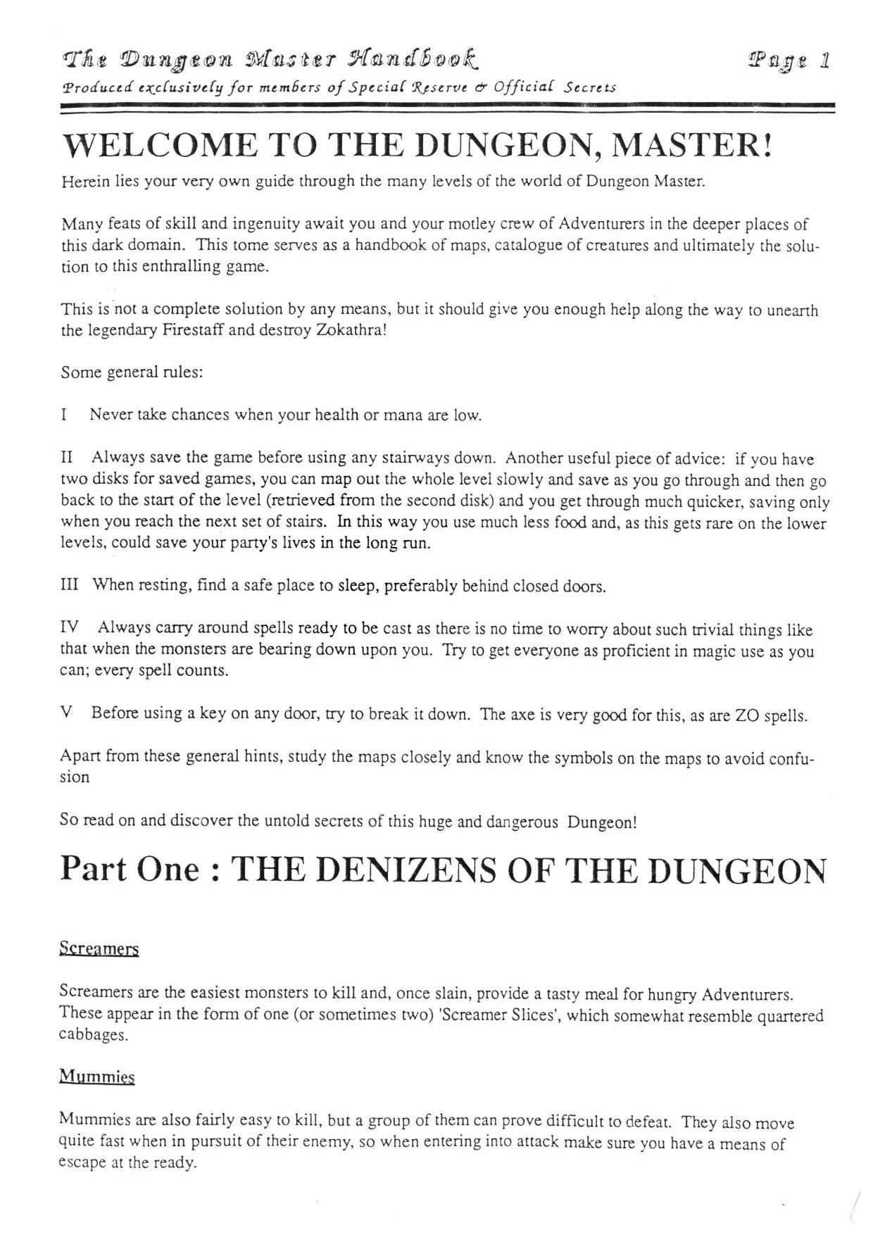 Hint Book - The Dungeon Master HandBook - UK - Page 002 - Scan