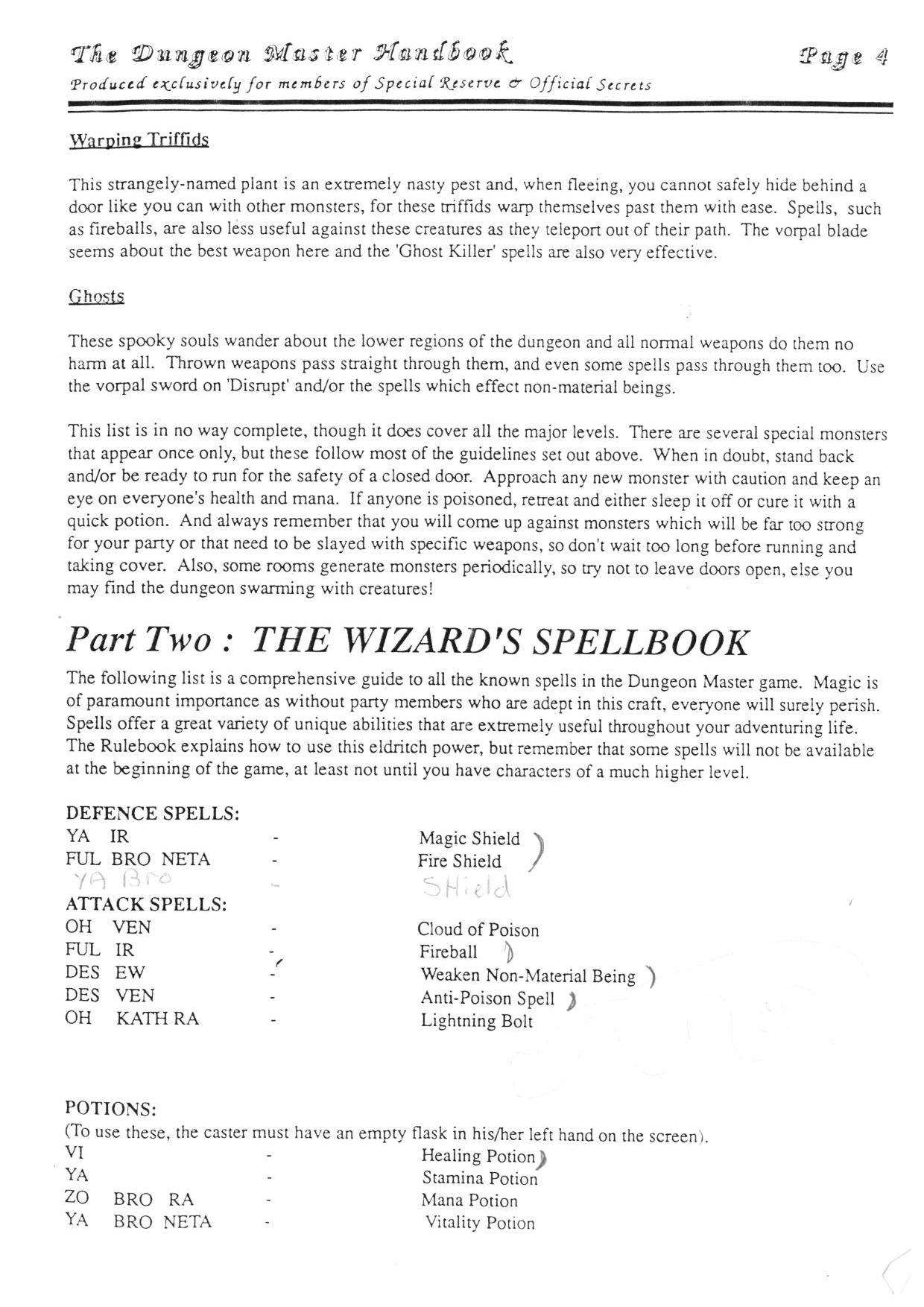 Hint Book - The Dungeon Master HandBook - UK - Page 005 - Scan