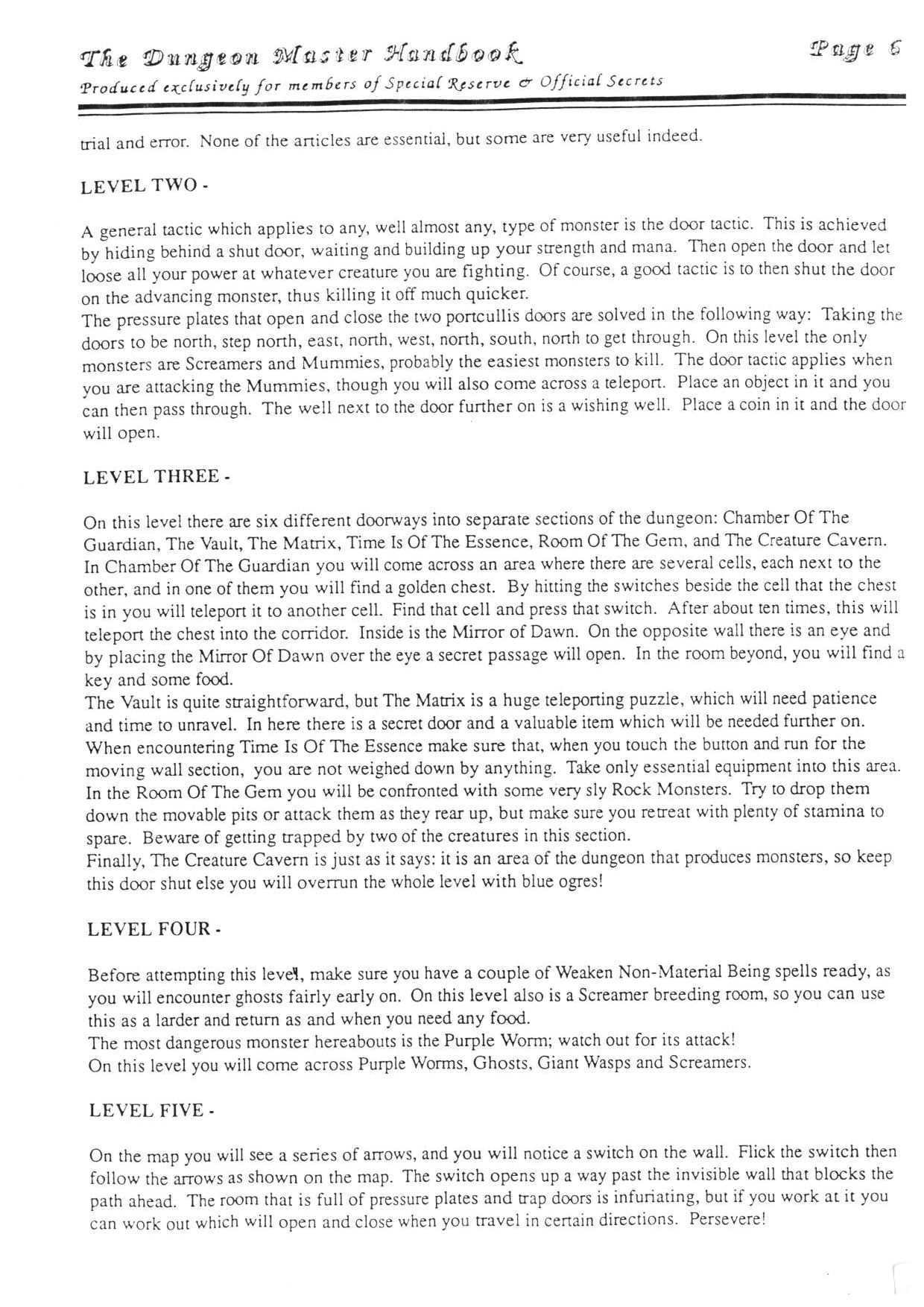 Hint Book - The Dungeon Master HandBook - UK - Page 007 - Scan
