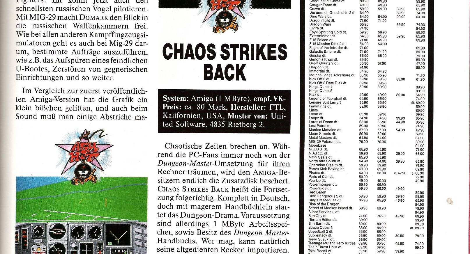 Chaos Strikes Back for Amiga Review published in German magazine 'ASM', April 1991, Page 109