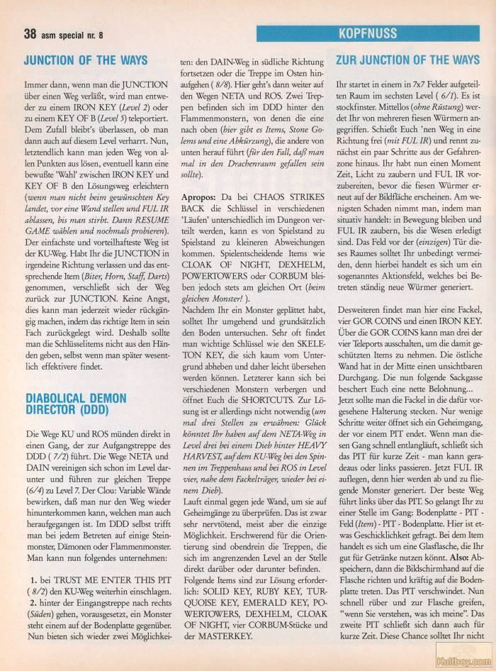 Chaos Strikes Back Hints published in German magazine 'ASM', August 1990, Page 38
