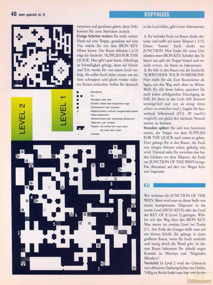 Chaos Strikes Back Hints published in German magazine 'ASM', August 1990, Page 40