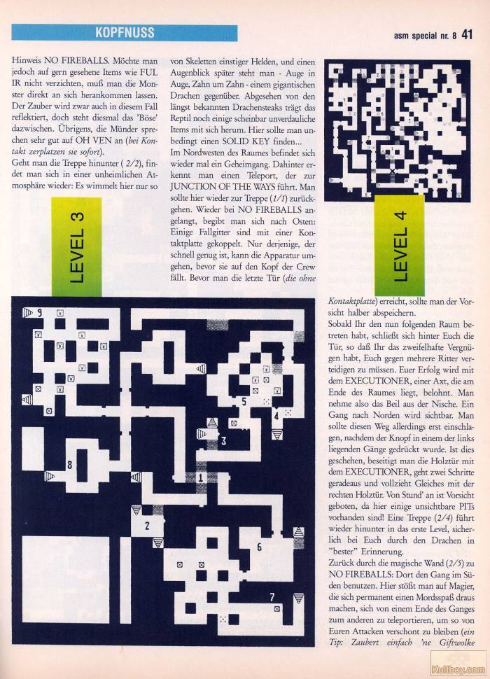 Chaos Strikes Back Hints published in German magazine 'ASM', August 1990, Page 41
