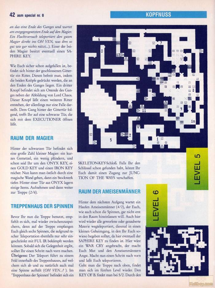 Chaos Strikes Back Hints published in German magazine 'ASM', August 1990, Page 42