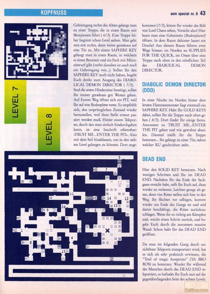 Chaos Strikes Back Hints published in German magazine 'ASM', August 1990, Page 43