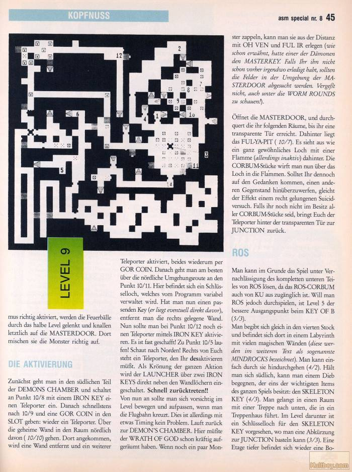 Chaos Strikes Back Hints published in German magazine 'ASM', August 1990, Page 45