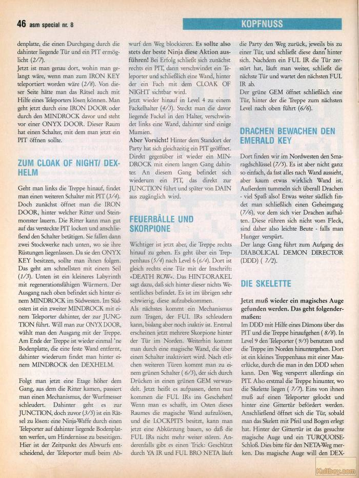 Chaos Strikes Back Hints published in German magazine 'ASM', August 1990, Page 46