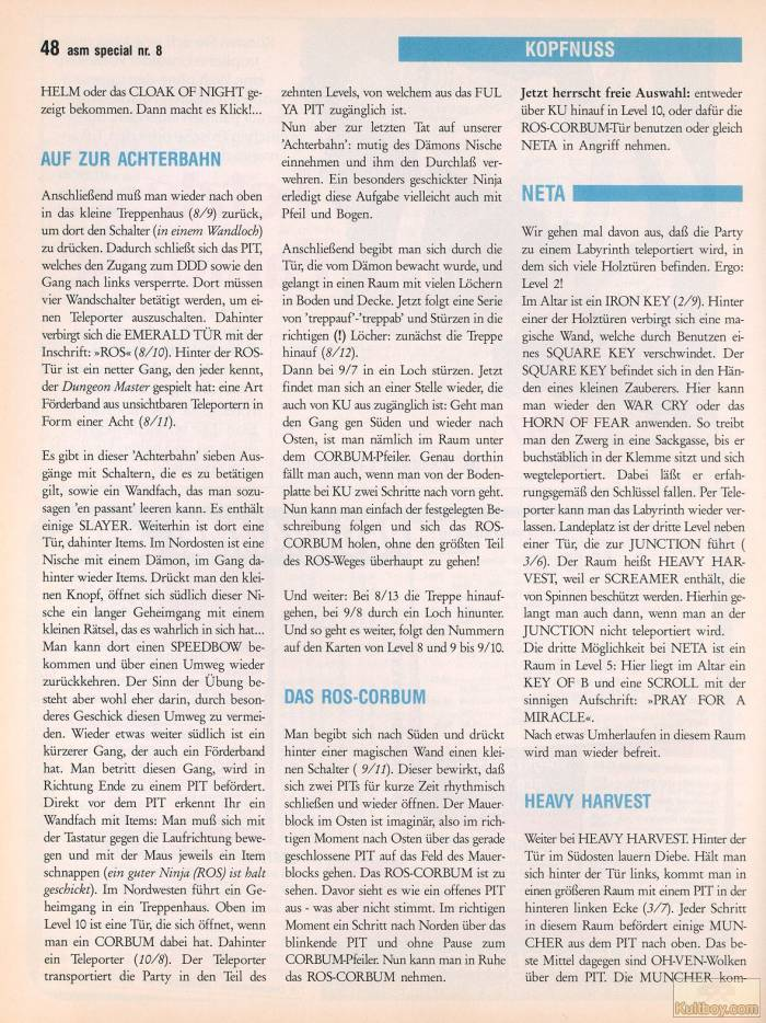 Chaos Strikes Back Hints published in German magazine 'ASM', August 1990, Page 48