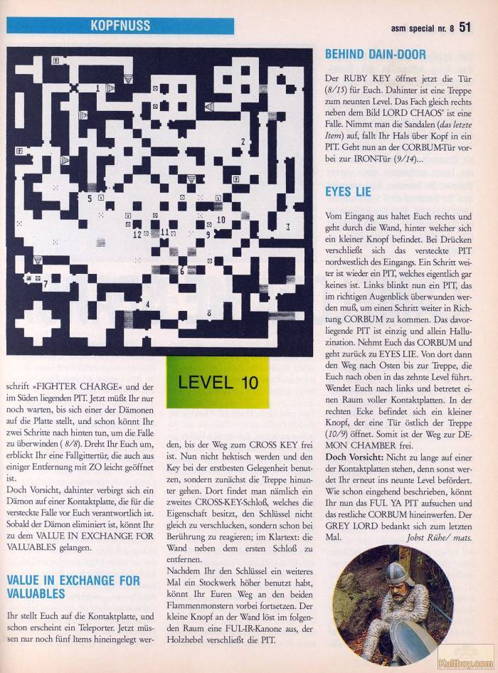 Chaos Strikes Back Hints published in German magazine 'ASM', August 1990, Page 51