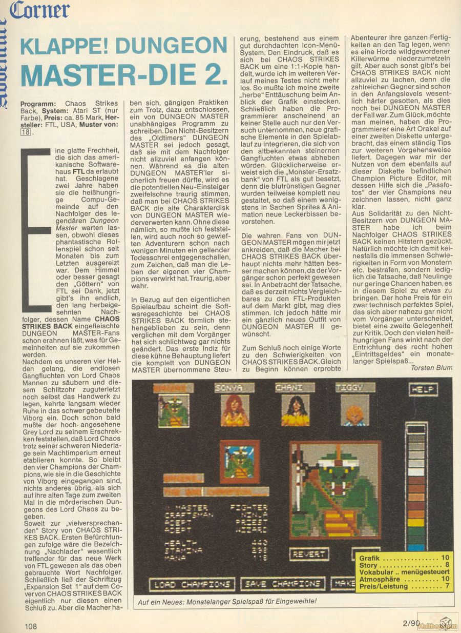 Chaos Strikes Back for Atari ST Review published in German magazine 'ASM', February 1990, Page 108