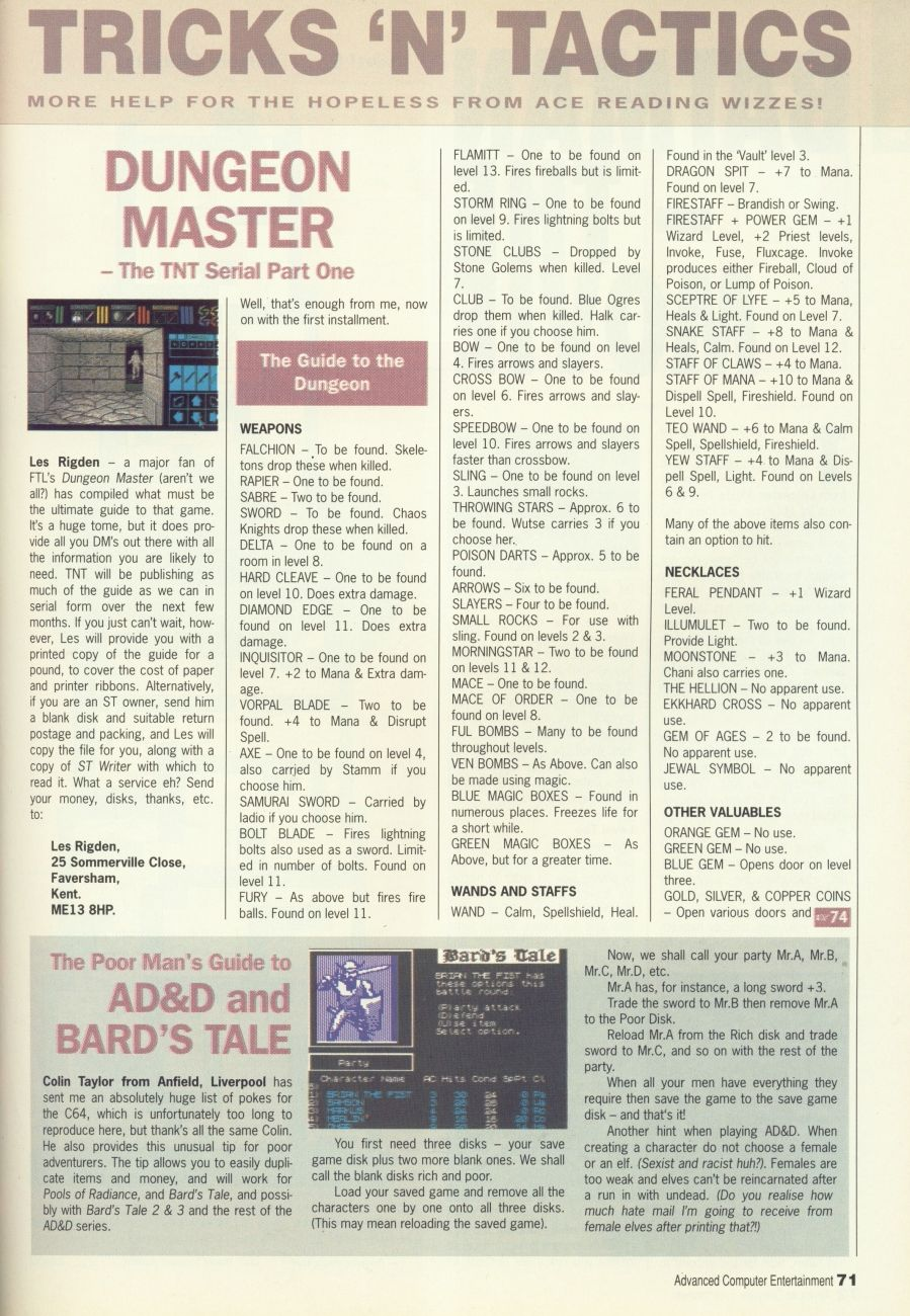 Dungeon Master Guide published in British magazine 'Advanced Computer Entertainment', Issue #29 February 1990, Page 71