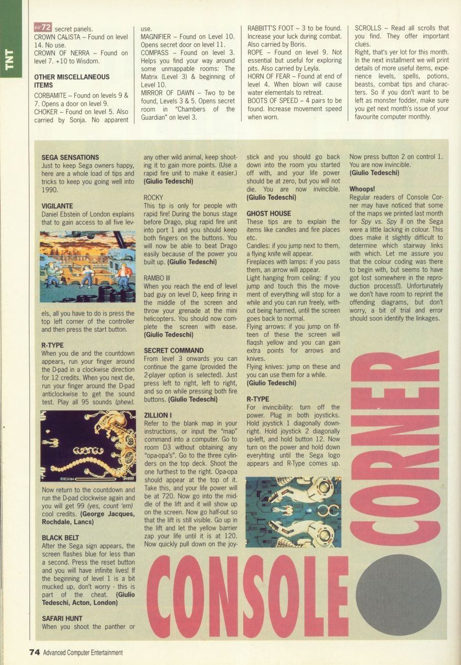 Dungeon Master Guide published in British magazine 'Advanced Computer Entertainment', Issue #29 February 1990, Page 74