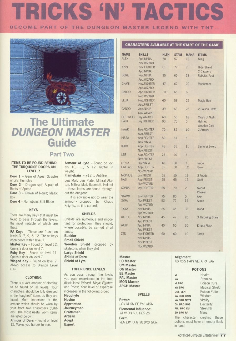 Dungeon Master Guide published in British magazine 'Advanced Computer Entertainment', Issue #30 March 1990, Page 77