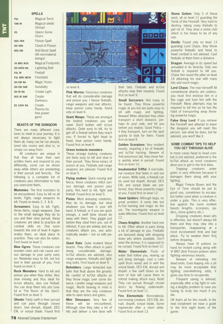 Dungeon Master Guide published in British magazine 'Advanced Computer Entertainment', Issue #30 March 1990, Page 78
