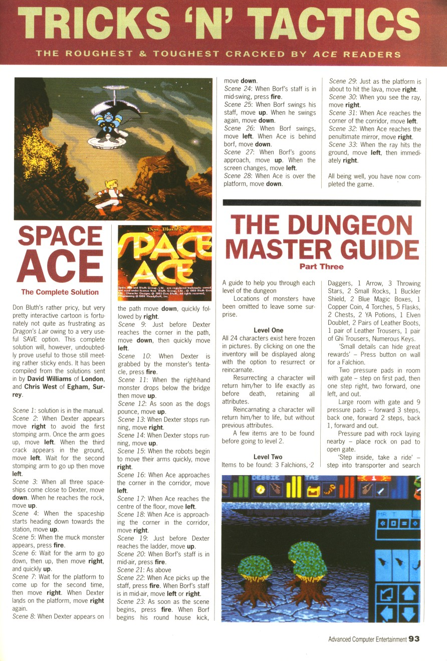 Dungeon Master Guide published in British magazine 'Advanced Computer Entertainment', Issue #31 April 1990, Page 93
