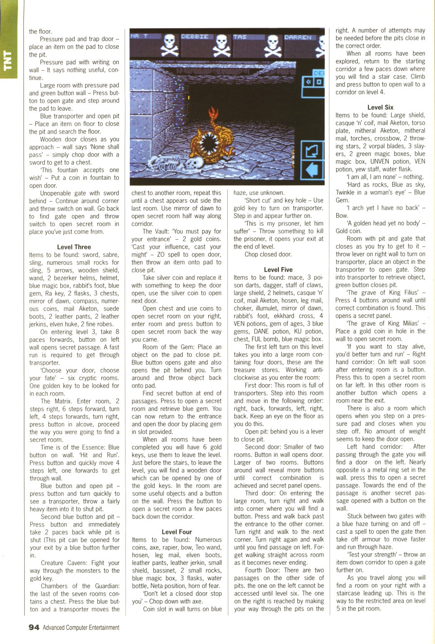 Dungeon Master Guide published in British magazine 'Advanced Computer Entertainment', Issue #31 April 1990, Page 94