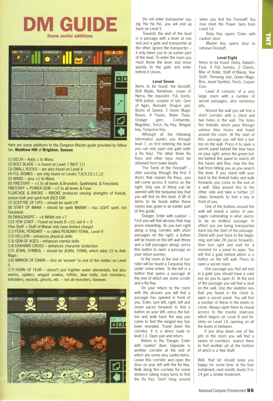 Dungeon Master Guide published in British magazine 'Advanced Computer Entertainment', Issue #31 April 1990, Page 95