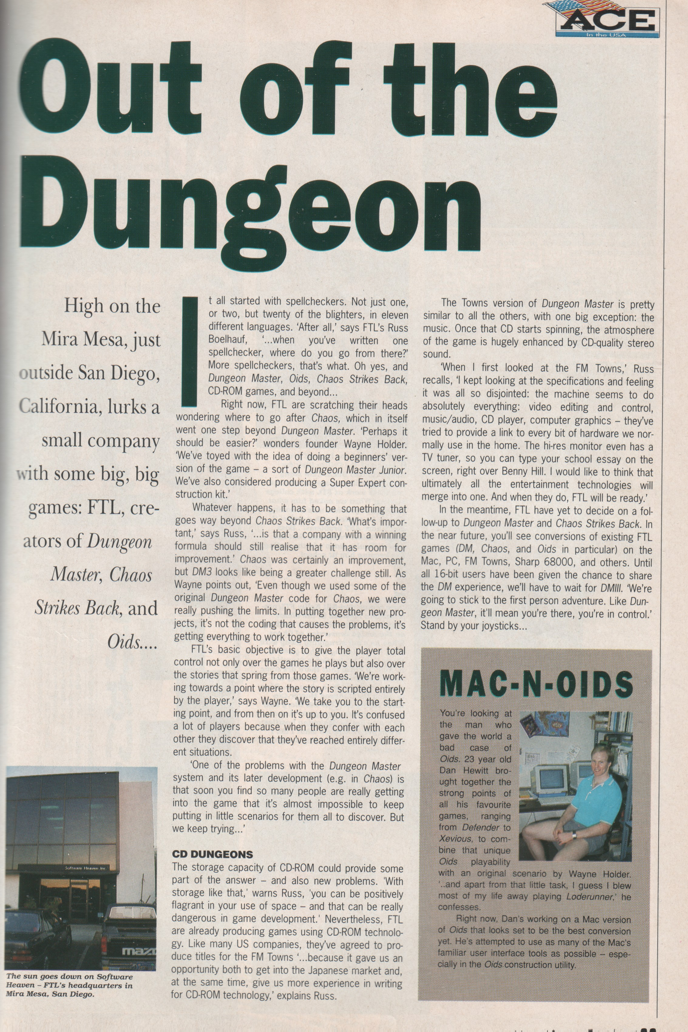 FTL Article published in British magazine 'Advanced Computer Entertainment', Issue #31 April 1990, Page 33
