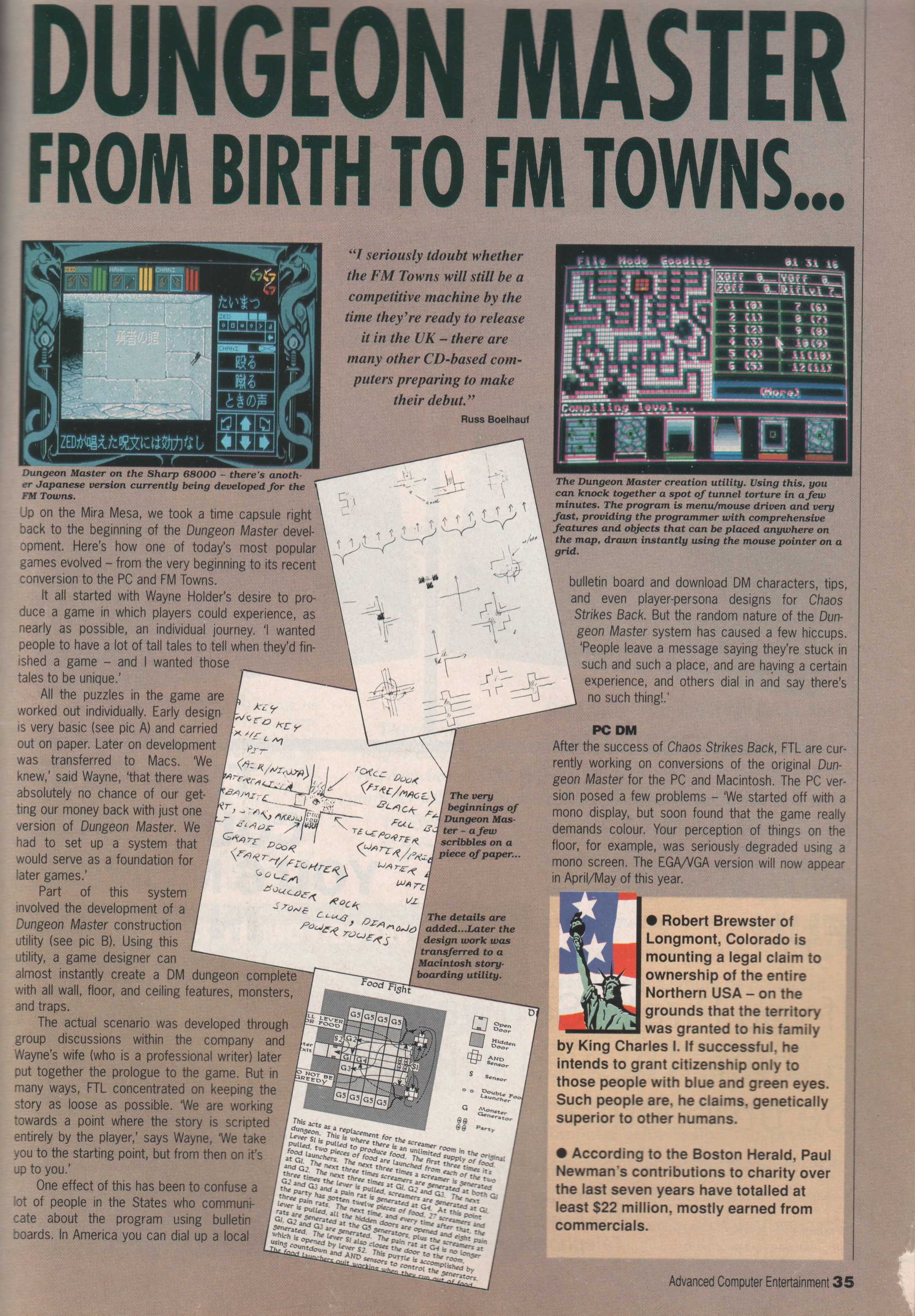 FTL Article published in British magazine 'Advanced Computer Entertainment', Issue #31 April 1990, Page 35