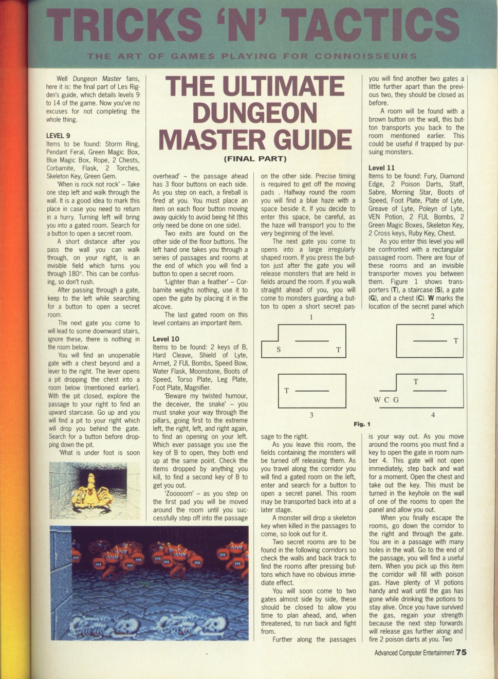 Dungeon Master Guide published in British magazine 'Advanced Computer Entertainment', Issue #32 May 1990, Page 75