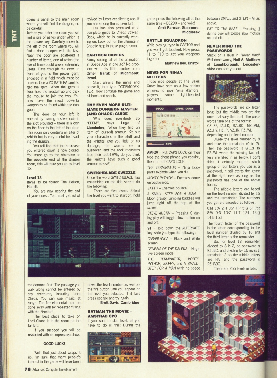 Dungeon Master Guide published in British magazine 'Advanced Computer Entertainment', Issue #32 May 1990, Page 78