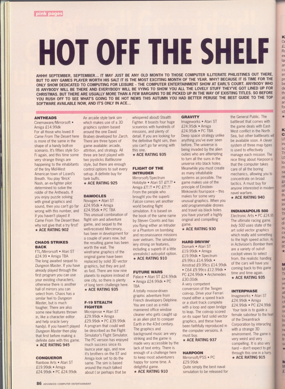 Chaos Strikes Back for Atari ST-Amiga Preview published in British magazine 'Advanced Computer Entertainment', Issue #36 September 1990, Page 86