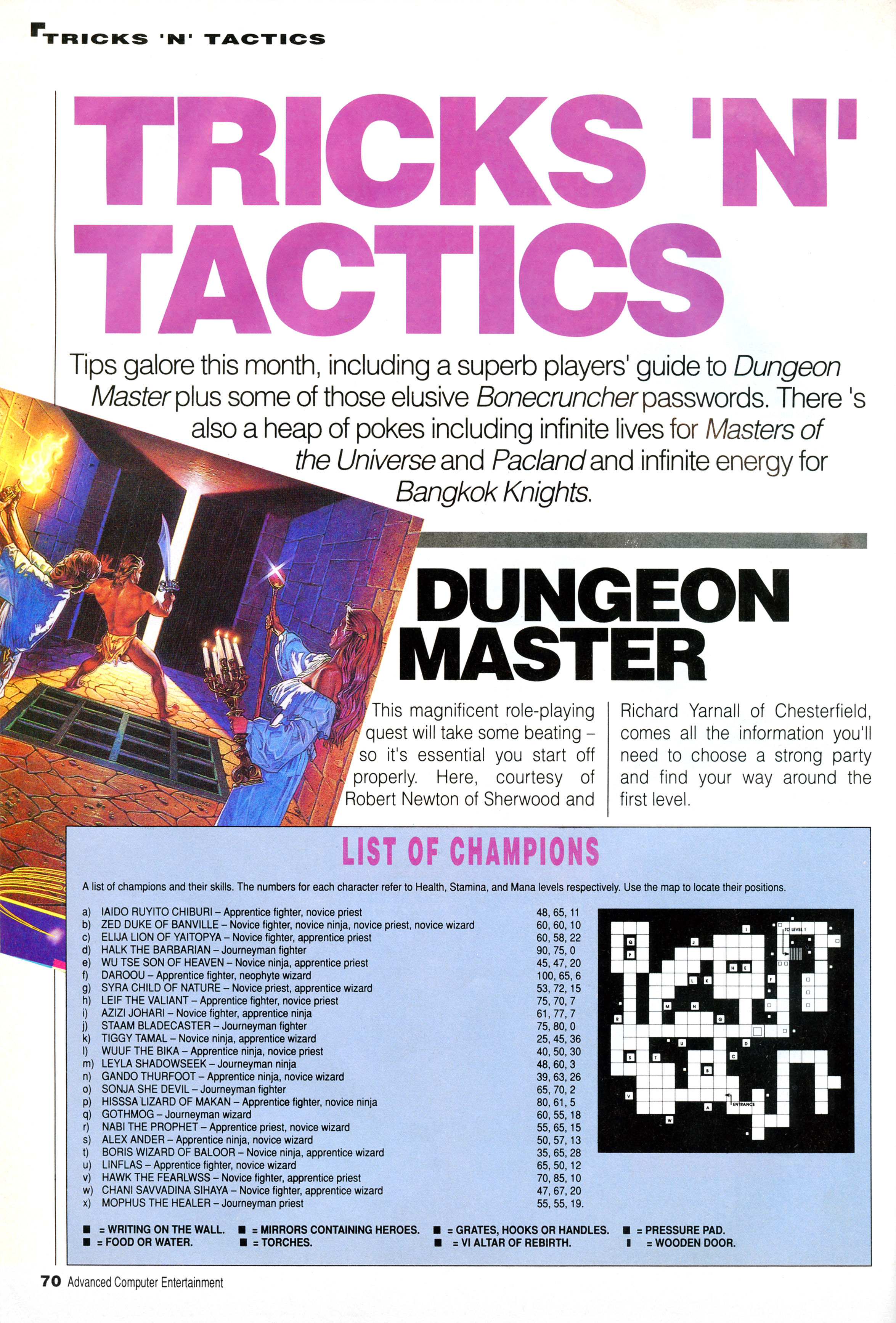 Dungeon Master Hints published in British magazine 'Advanced Computer Entertainment', Issue #9 June 1988, Page 70