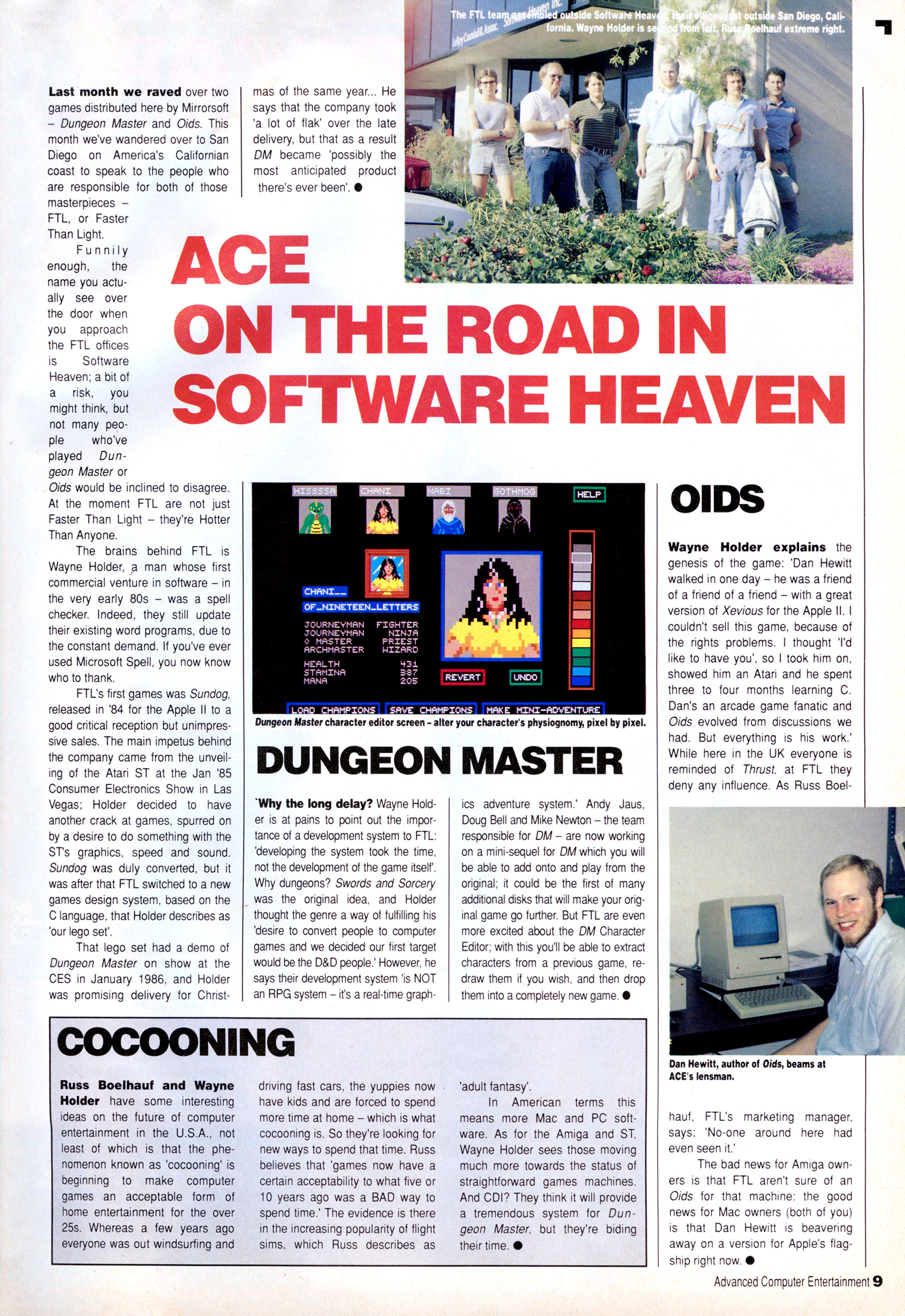 Dungeon Master Article published in British magazine 'Advanced Computer Entertainment', Issue #9 June 1988, Page 9
