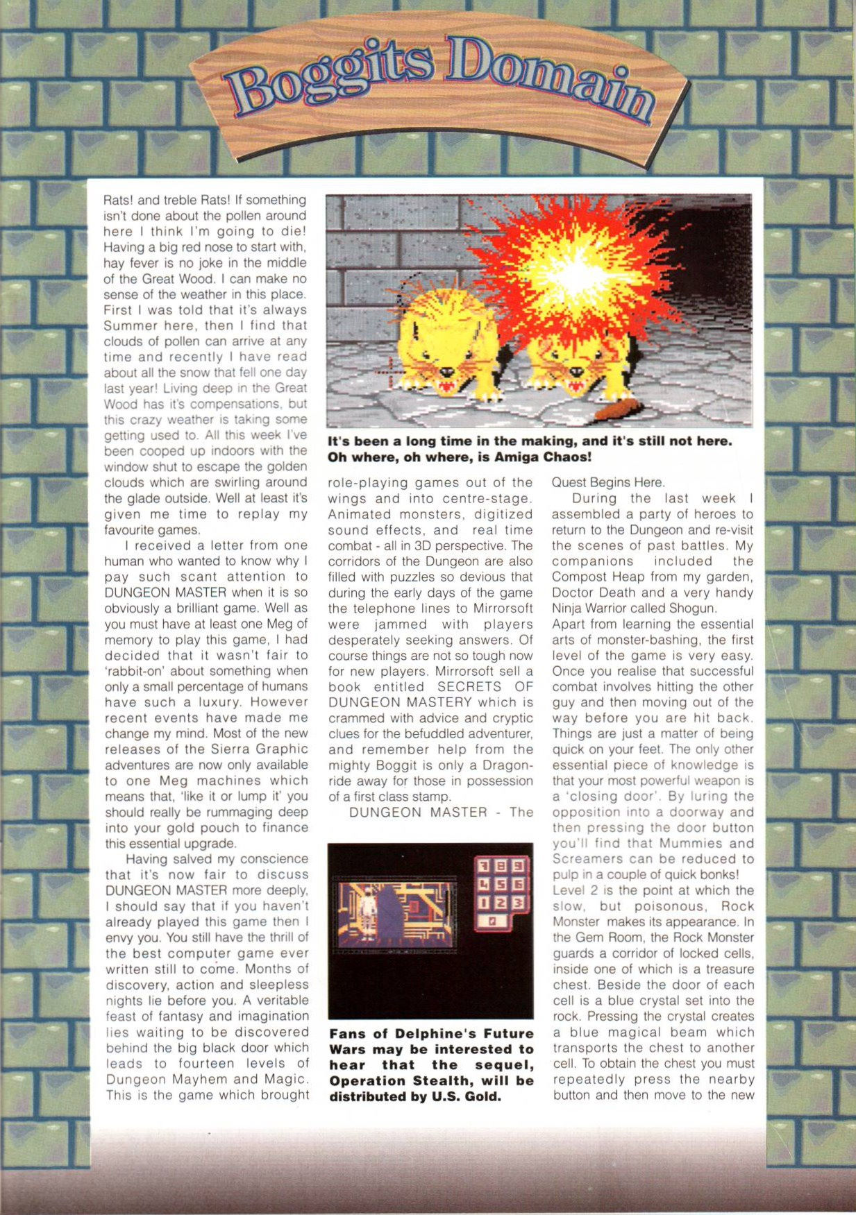 Dungeon Master Article published in British magazine 'Amiga Action', Issue #12 September 1990, Page 13