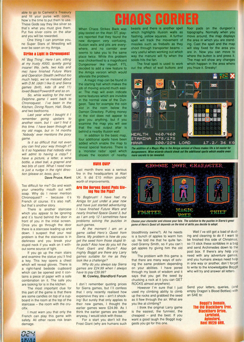 Chaos Strikes Back for Amiga Hints published in British magazine 'Amiga Action', Issue #20 May 1991, Page 24