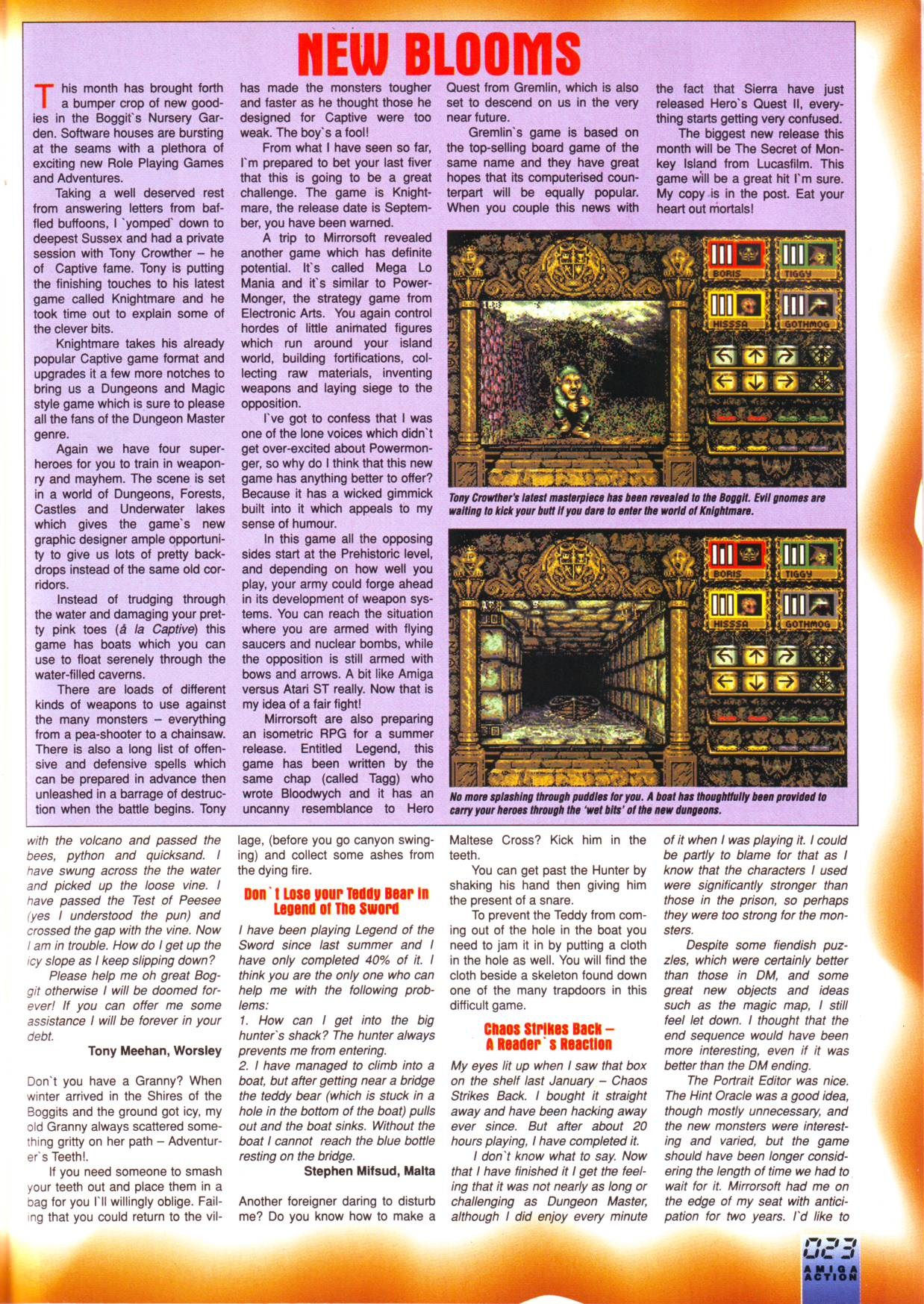 Chaos Strikes Back for Amiga Mail published in British magazine 'Amiga Action', Issue #21 June 1991, Page 23