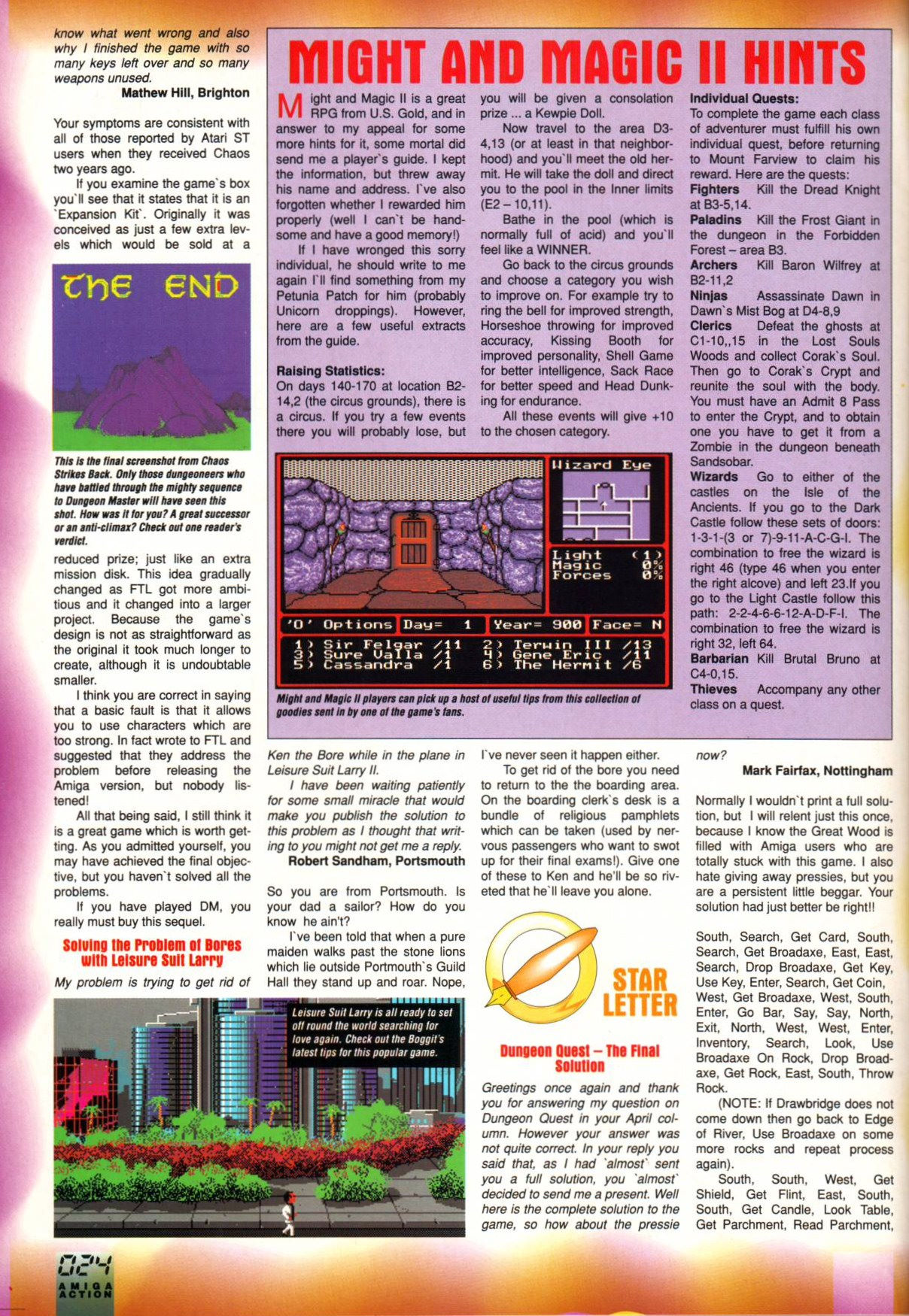 Chaos Strikes Back for Amiga Mail published in British magazine 'Amiga Action', Issue #21 June 1991, Page 24