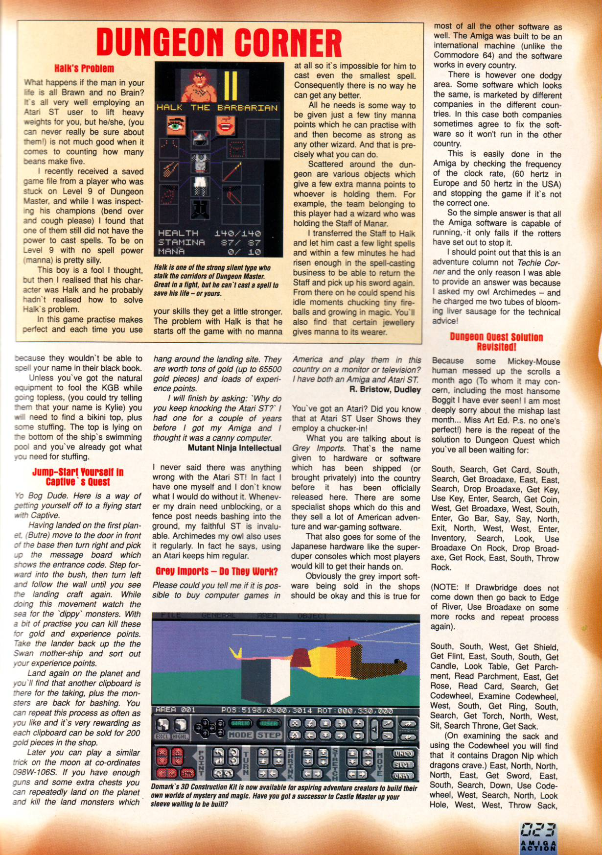 Dungeon Master Hints published in British magazine 'Amiga Action', Issue #22 July 1991, Page 23