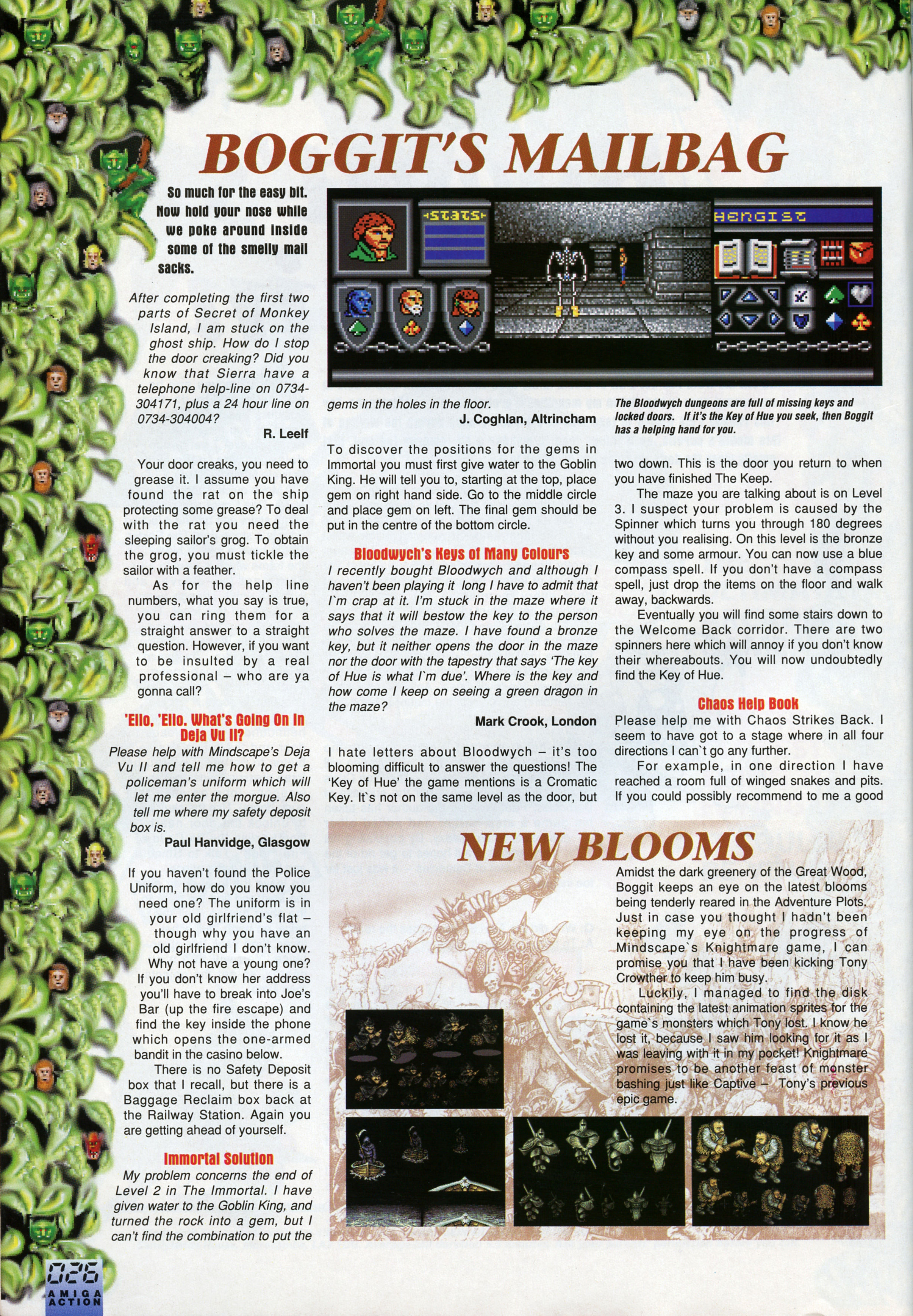 Dungeon Master And Chaos Strikes Back Hints published in British magazine 'Amiga Action', Issue #25 October 1991, Page 26