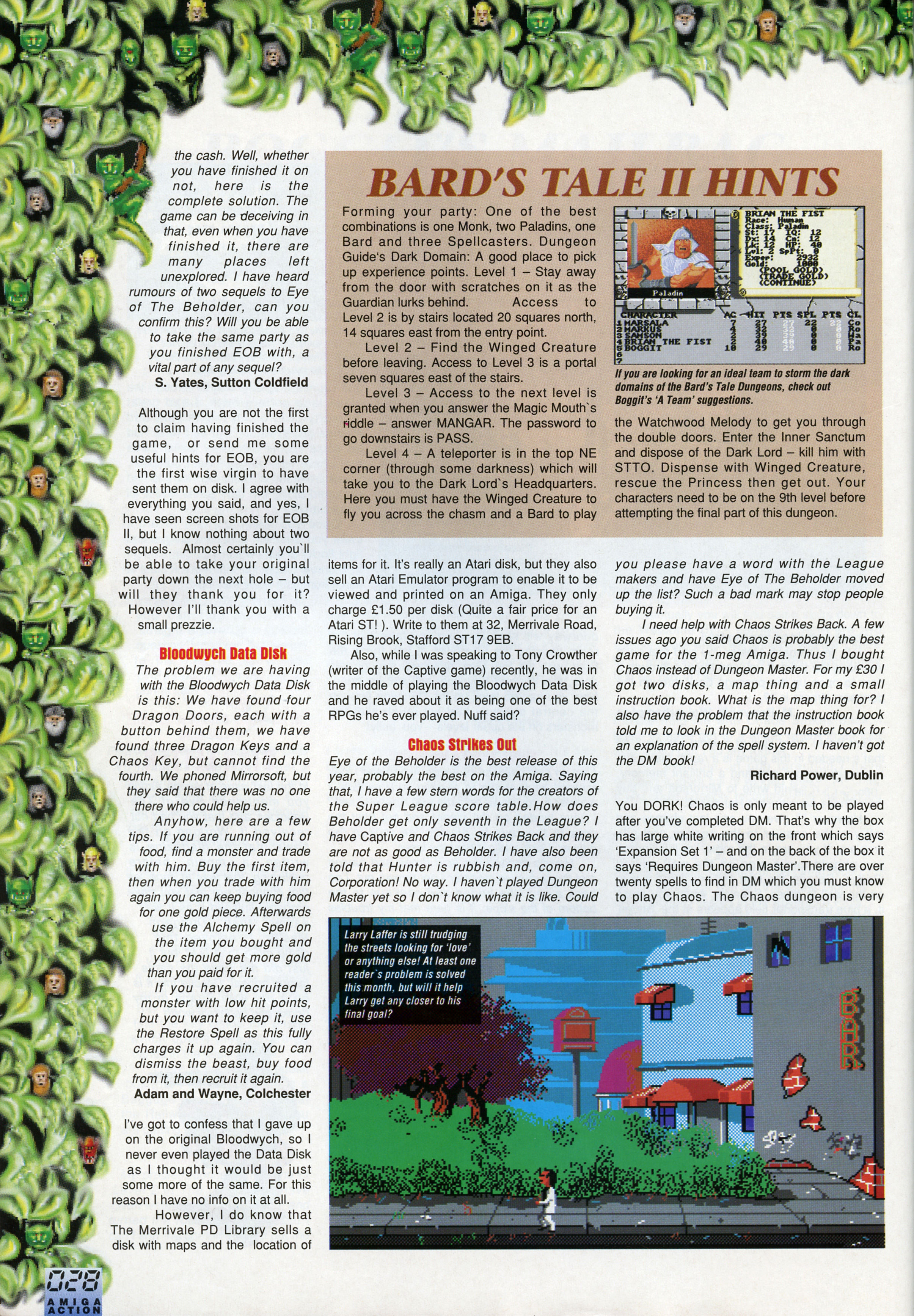 Dungeon Master And Chaos Strikes Back Hints published in British magazine 'Amiga Action', Issue #25 October 1991, Page 28