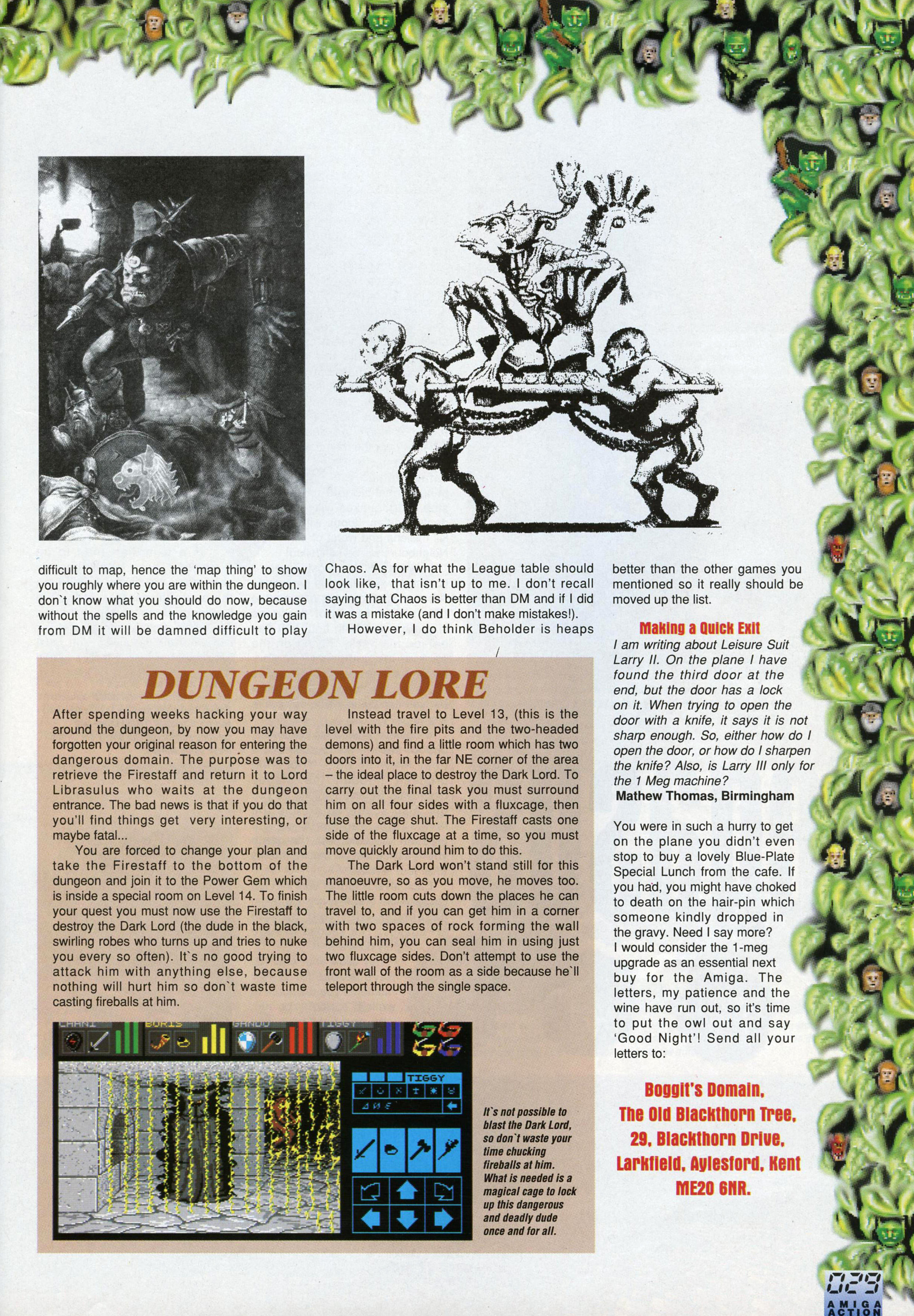 Dungeon Master And Chaos Strikes Back Hints published in British magazine 'Amiga Action', Issue #25 October 1991, Page 29