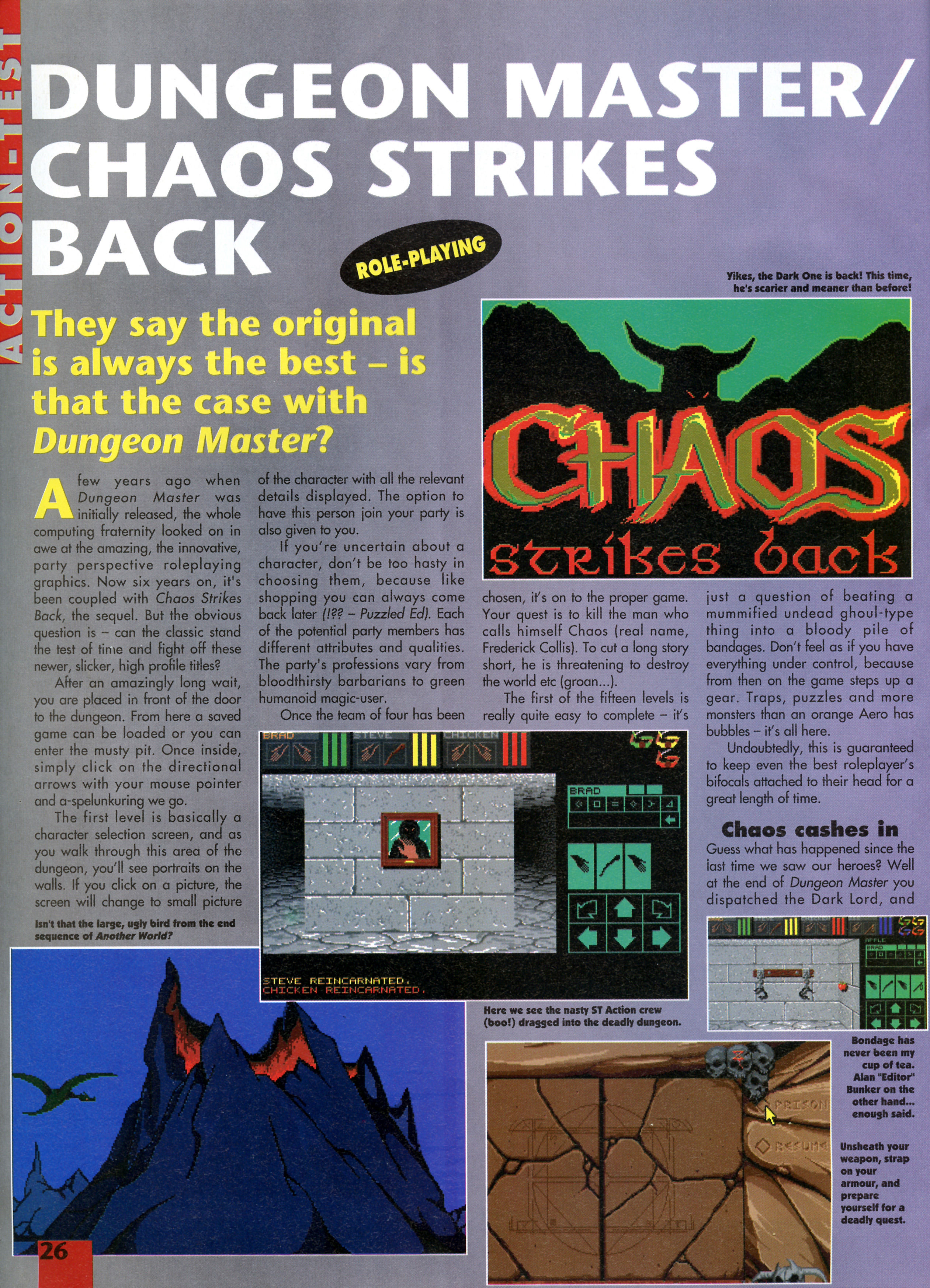Dungeon Master and Chaos Strikes Back compilation for Amiga Review published in British magazine 'Amiga Action', Issue #38, November 1992, Page 26