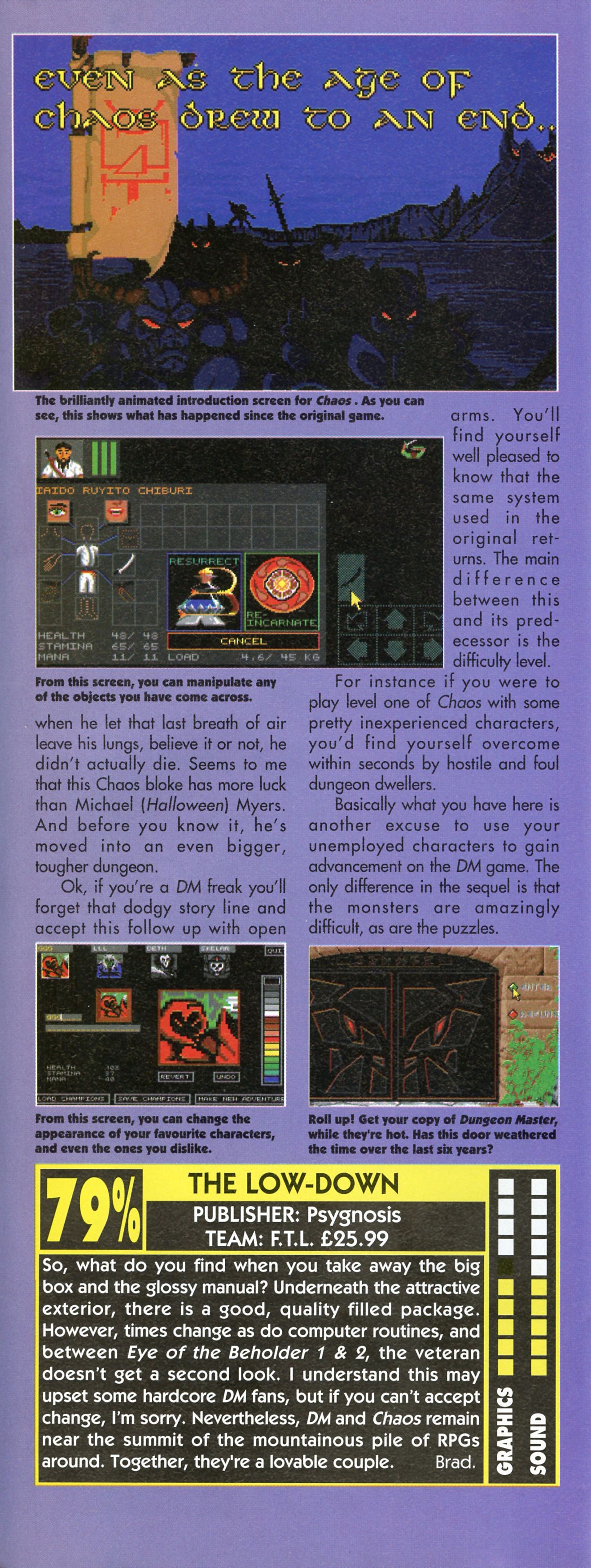 Dungeon Master and Chaos Strikes Back compilation for Amiga Review published in British magazine 'Amiga Action', Issue #38, November 1992, Page 27